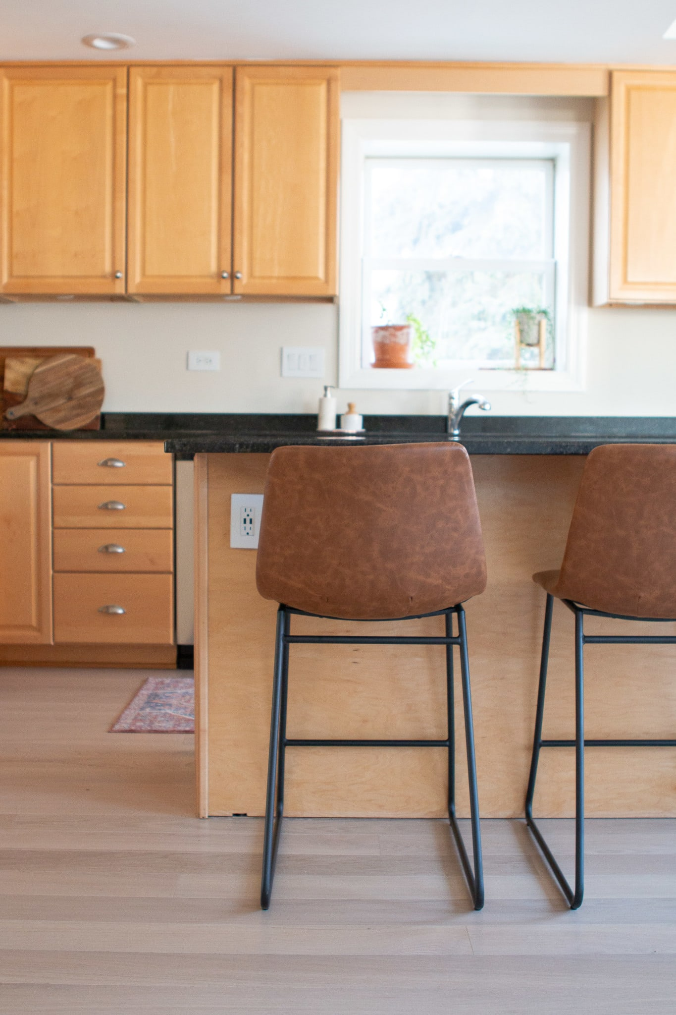 Our leather kitchen stools