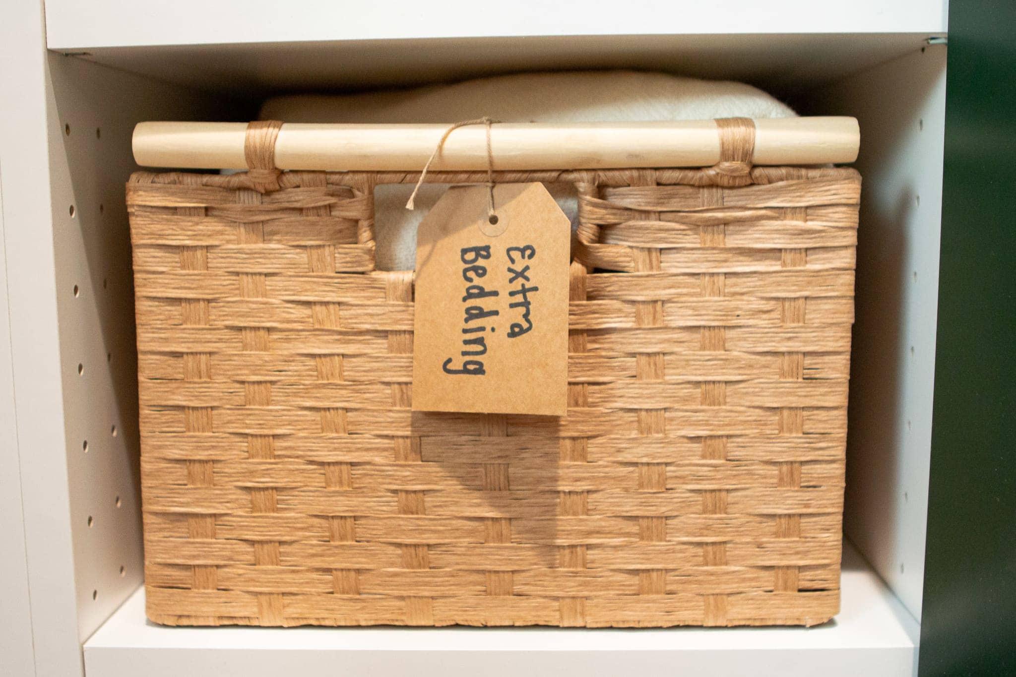 Basket for extra bedding