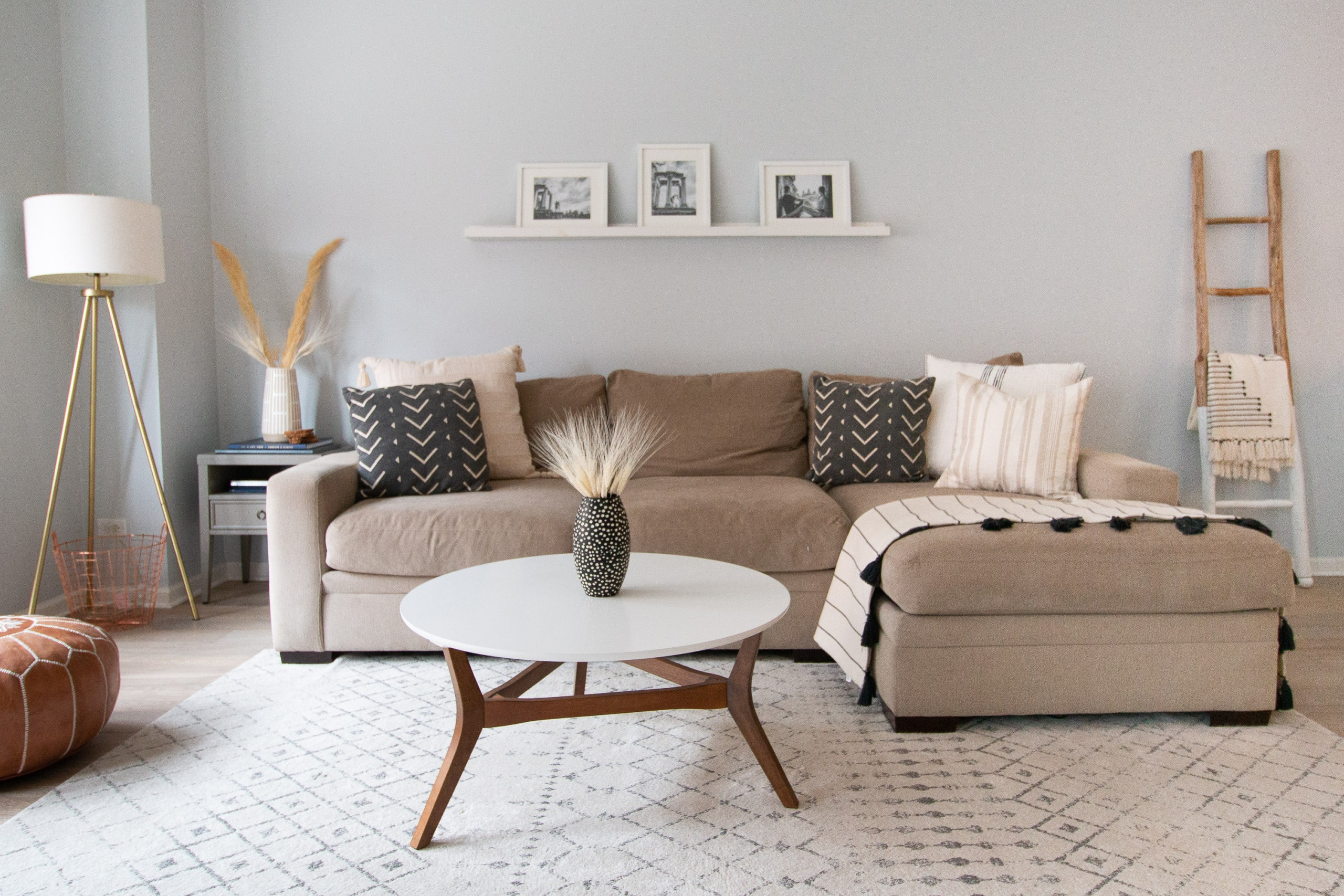 Gray sectional in a family room