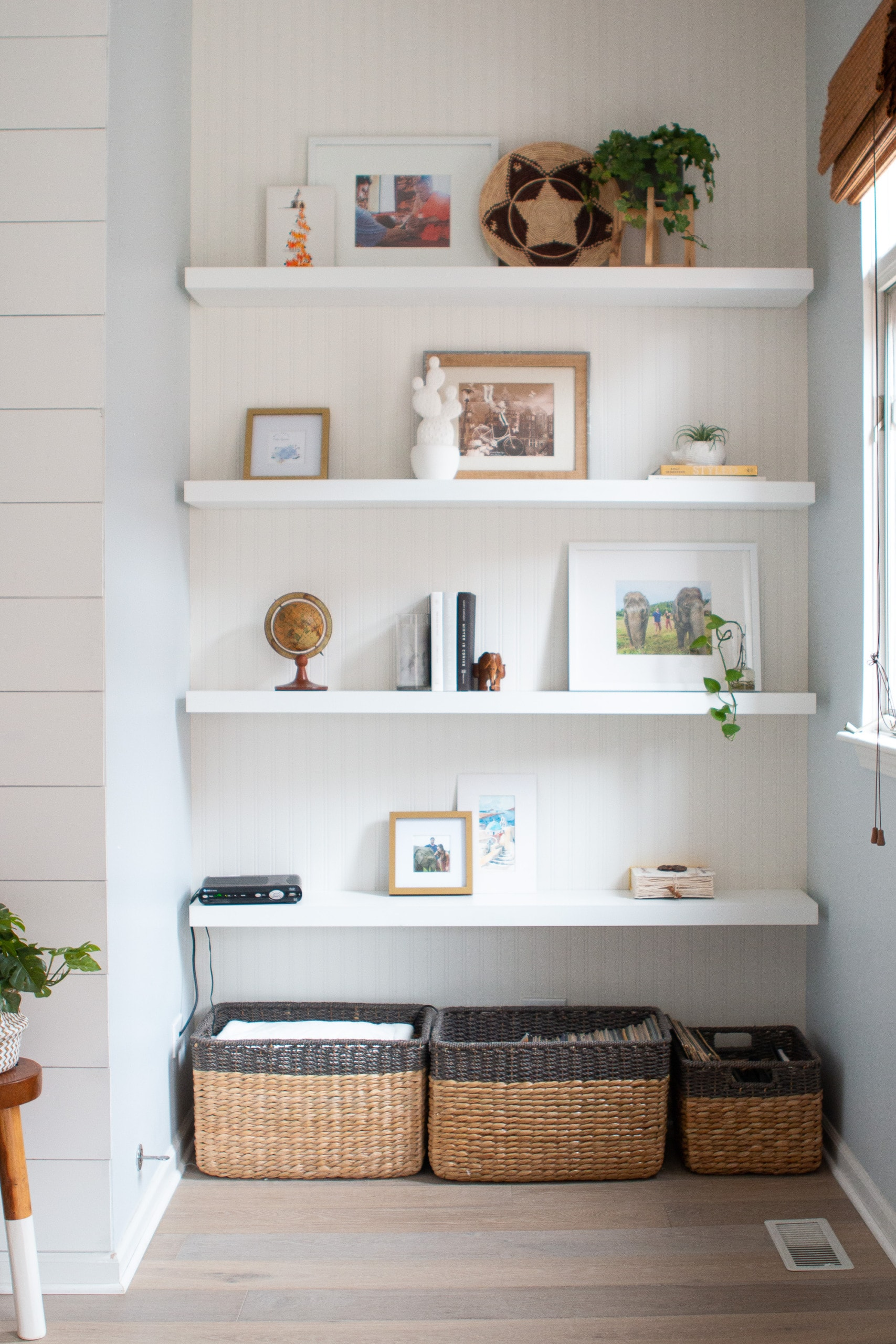 shelves in the family room