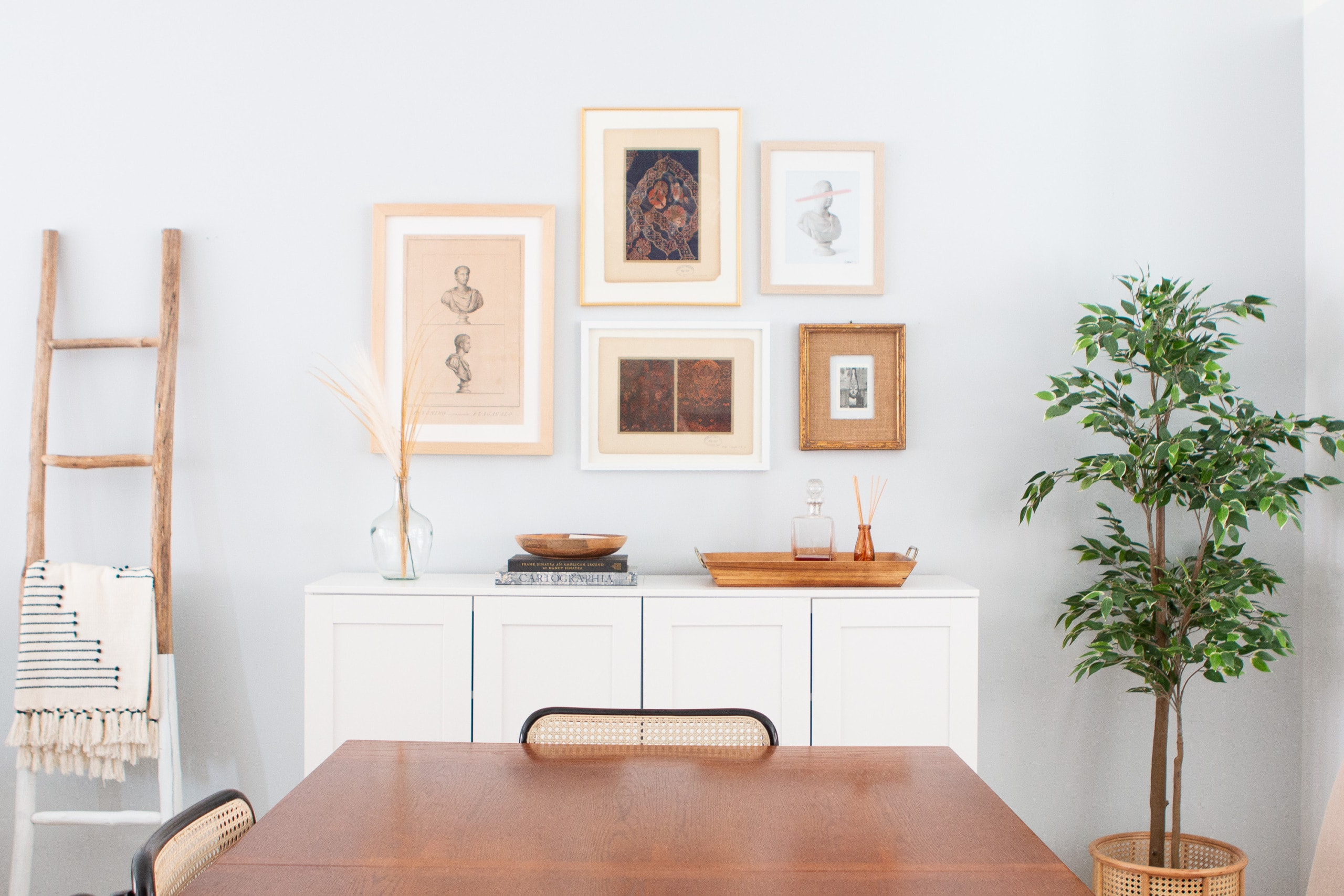 Gallery wall in a dining room