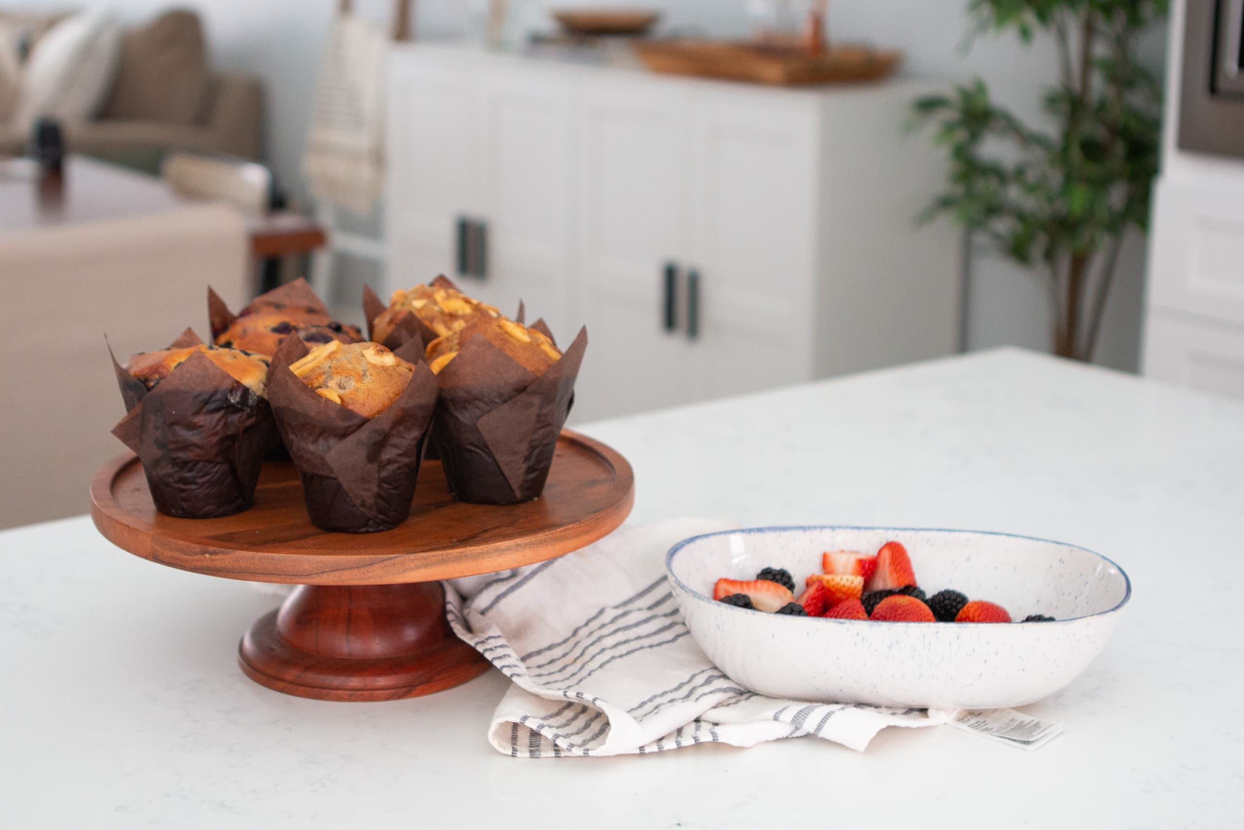 Muffins on a kitchen countertop