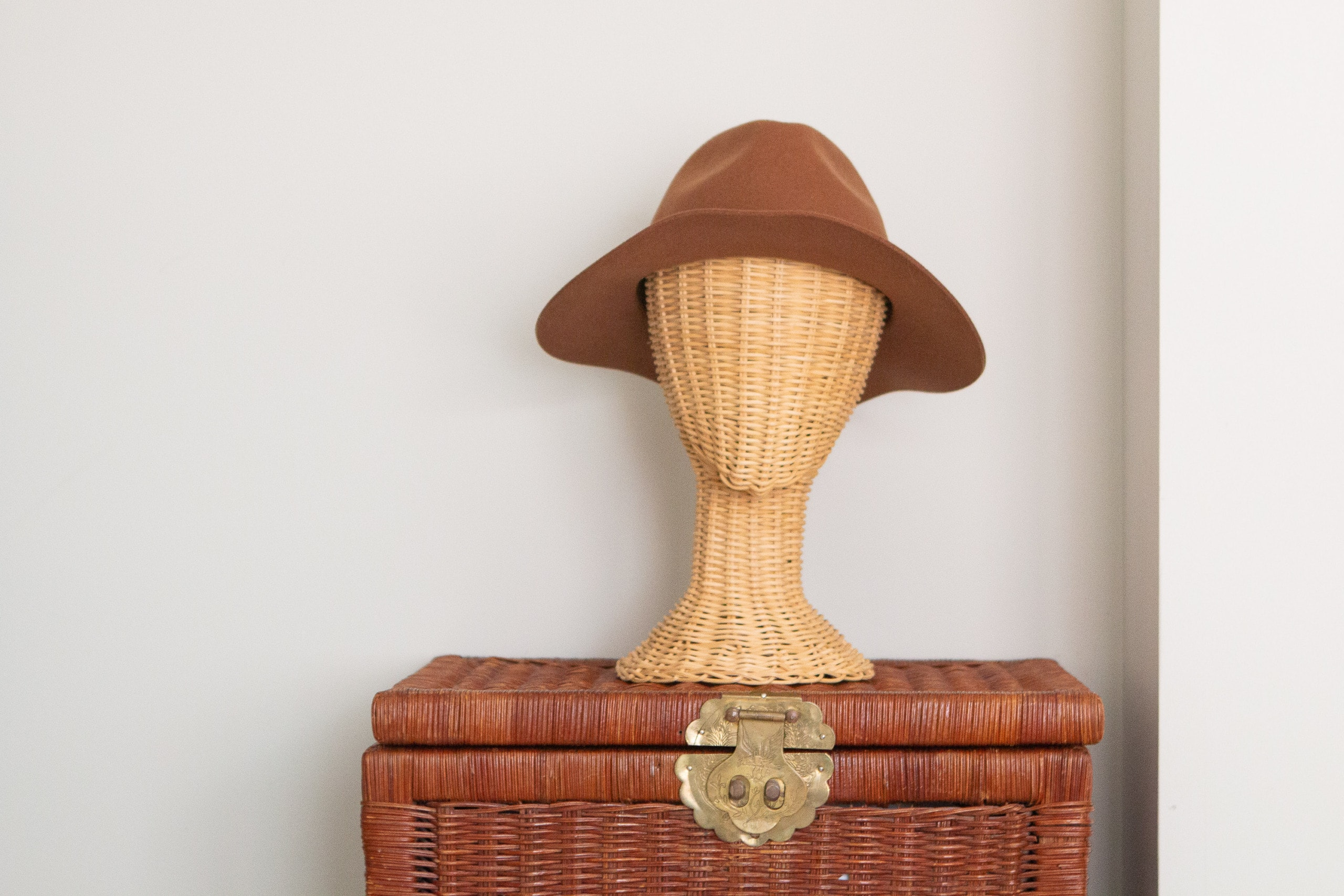 Rattan chest and hat