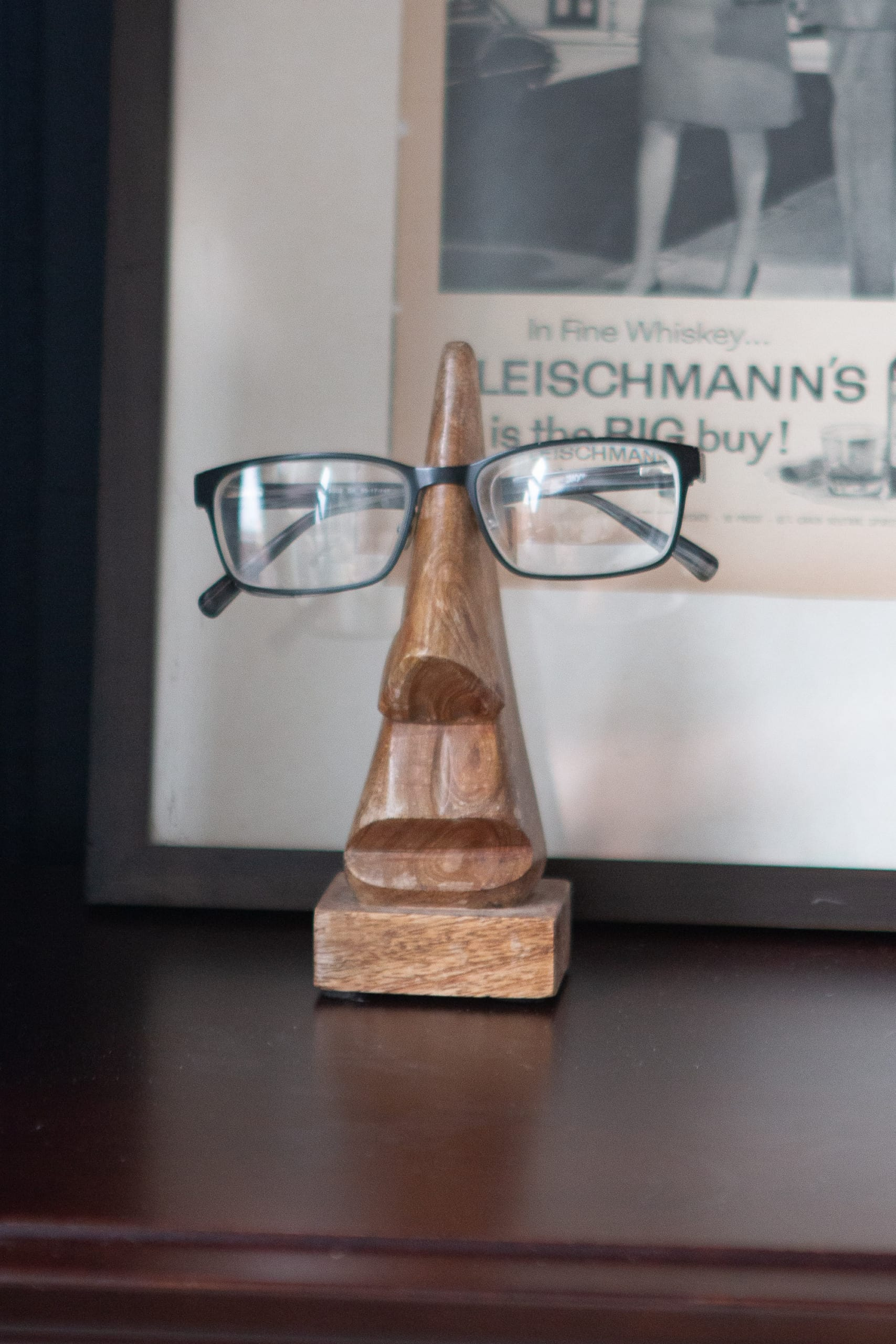 Eyeglasses on a nightstand