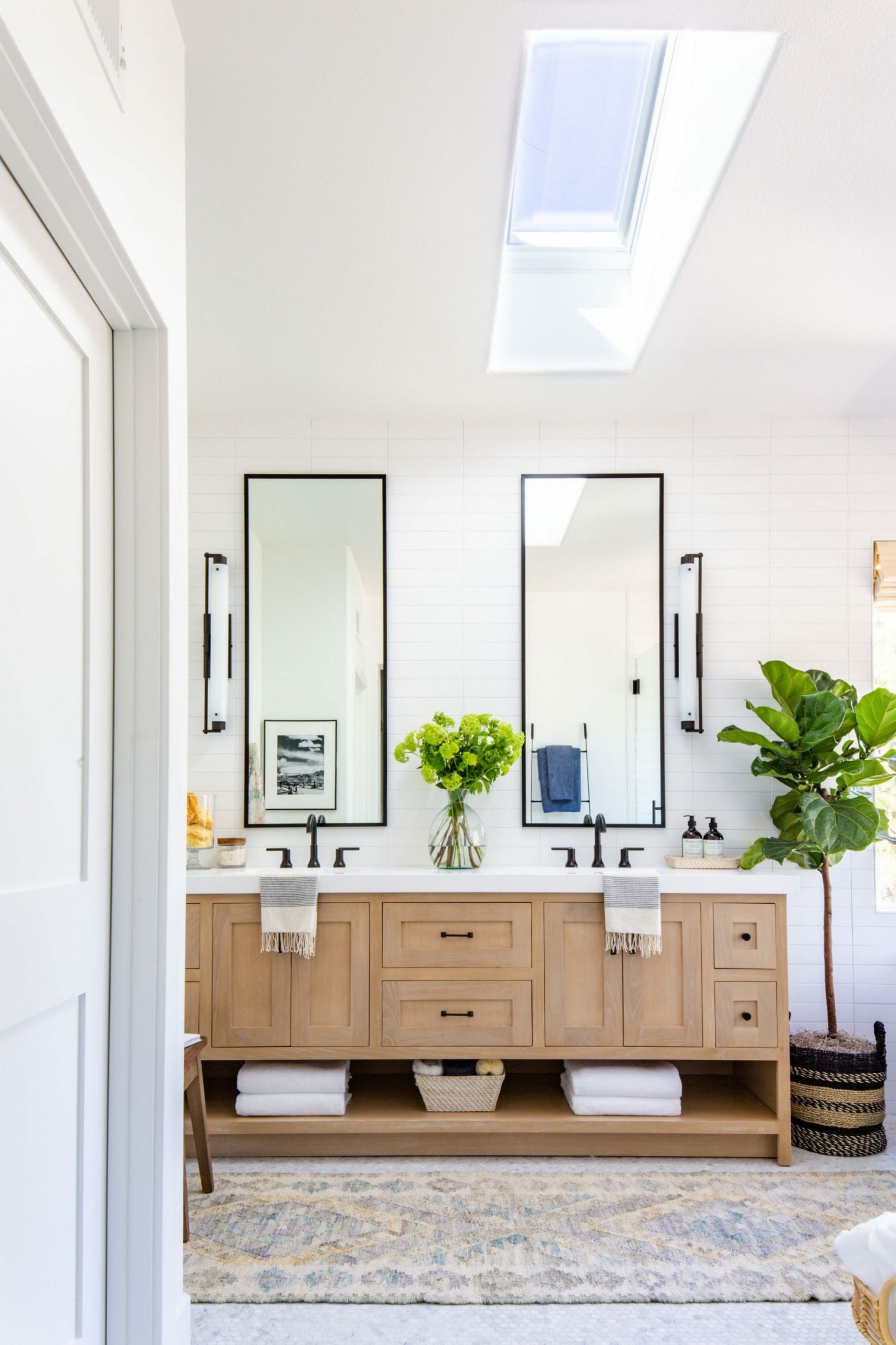 Add a runner to the gray bathroom