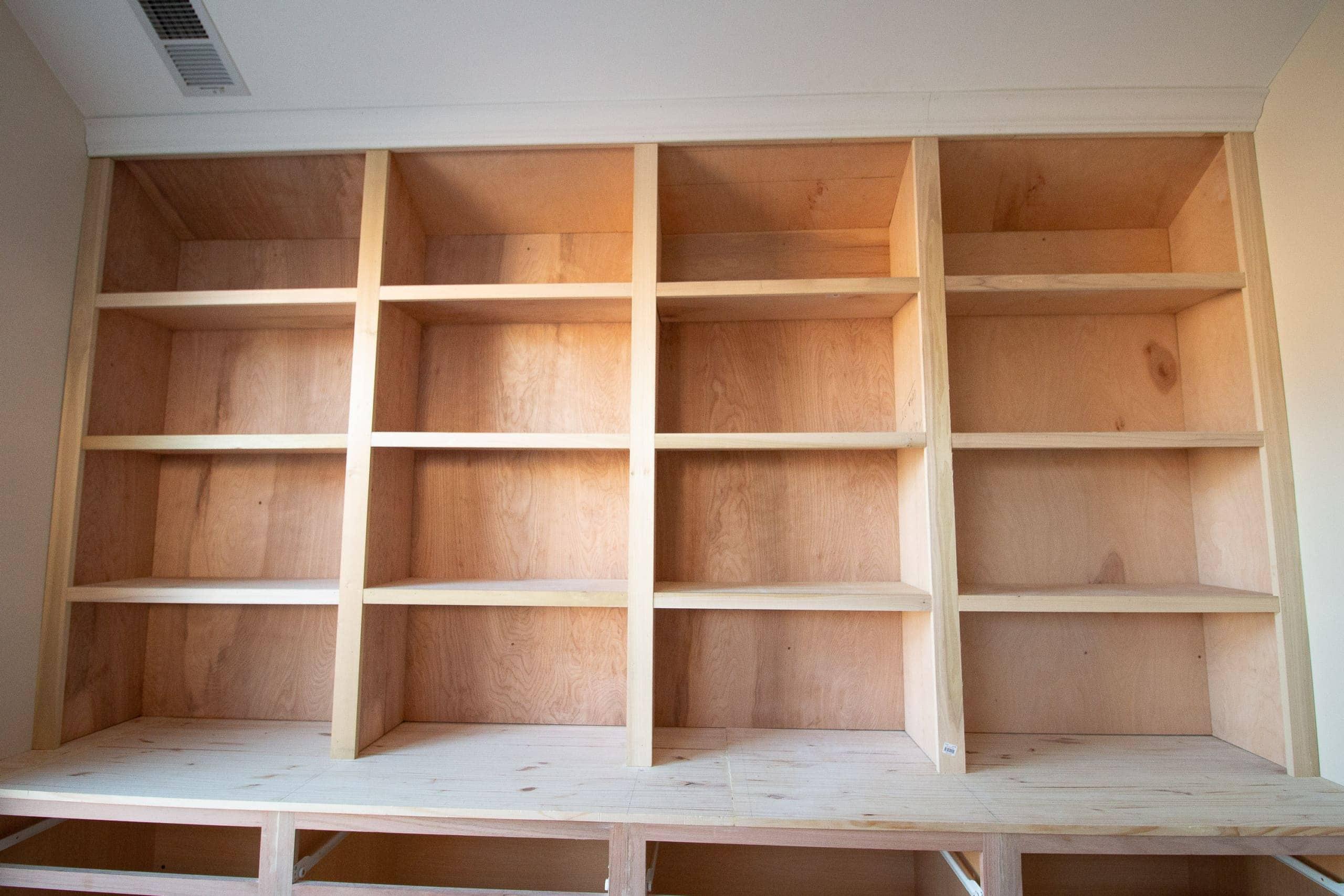 Raw wood built-ins