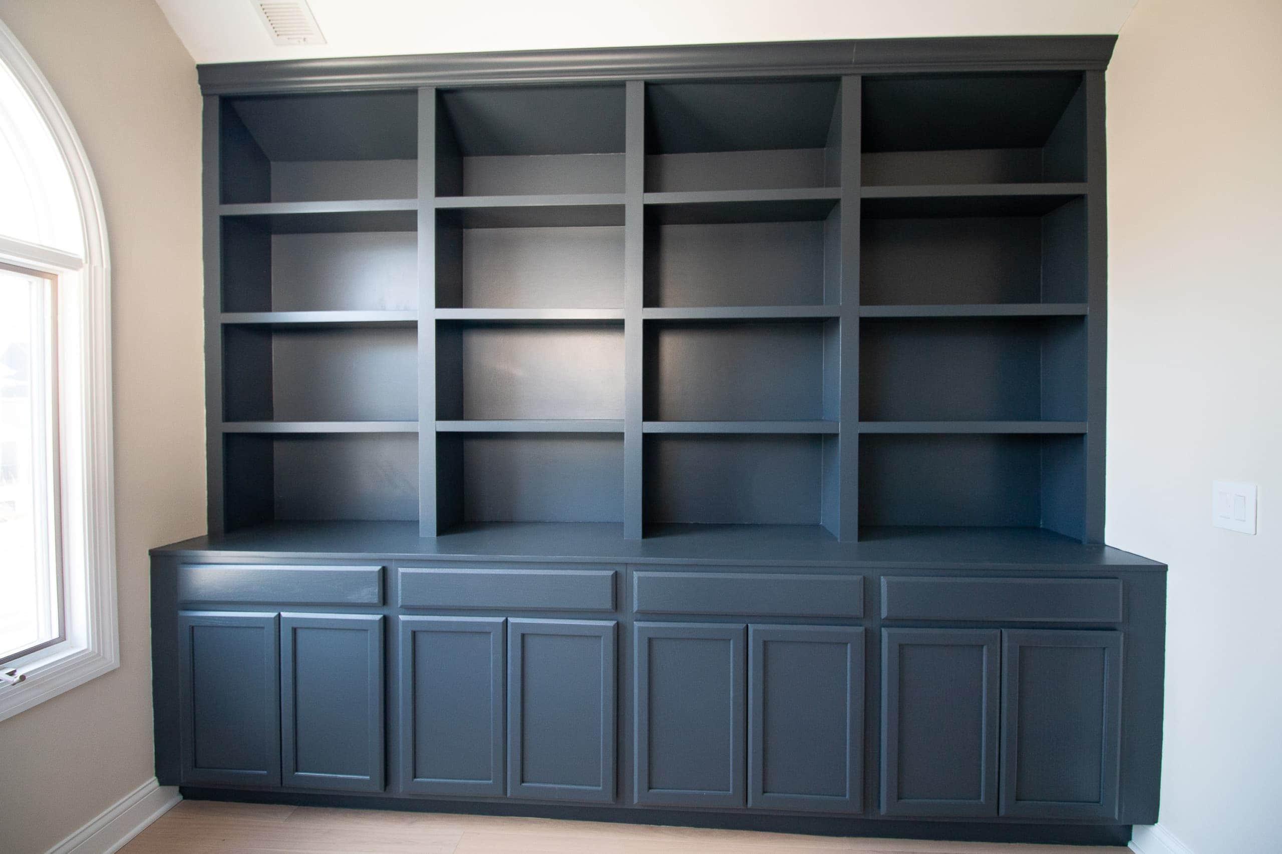 Dark blue painted built-ins
