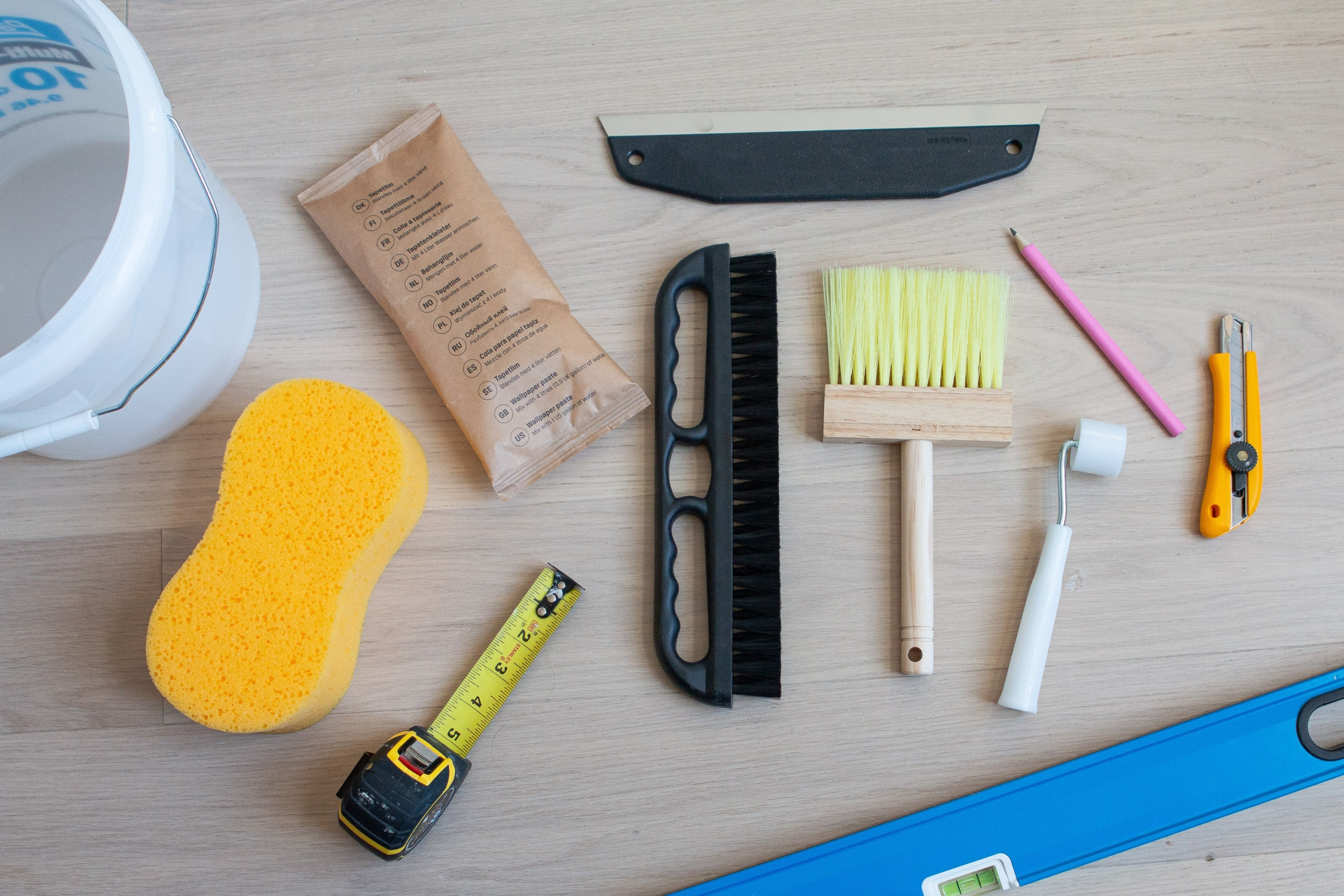 Supplies to install a wall mural