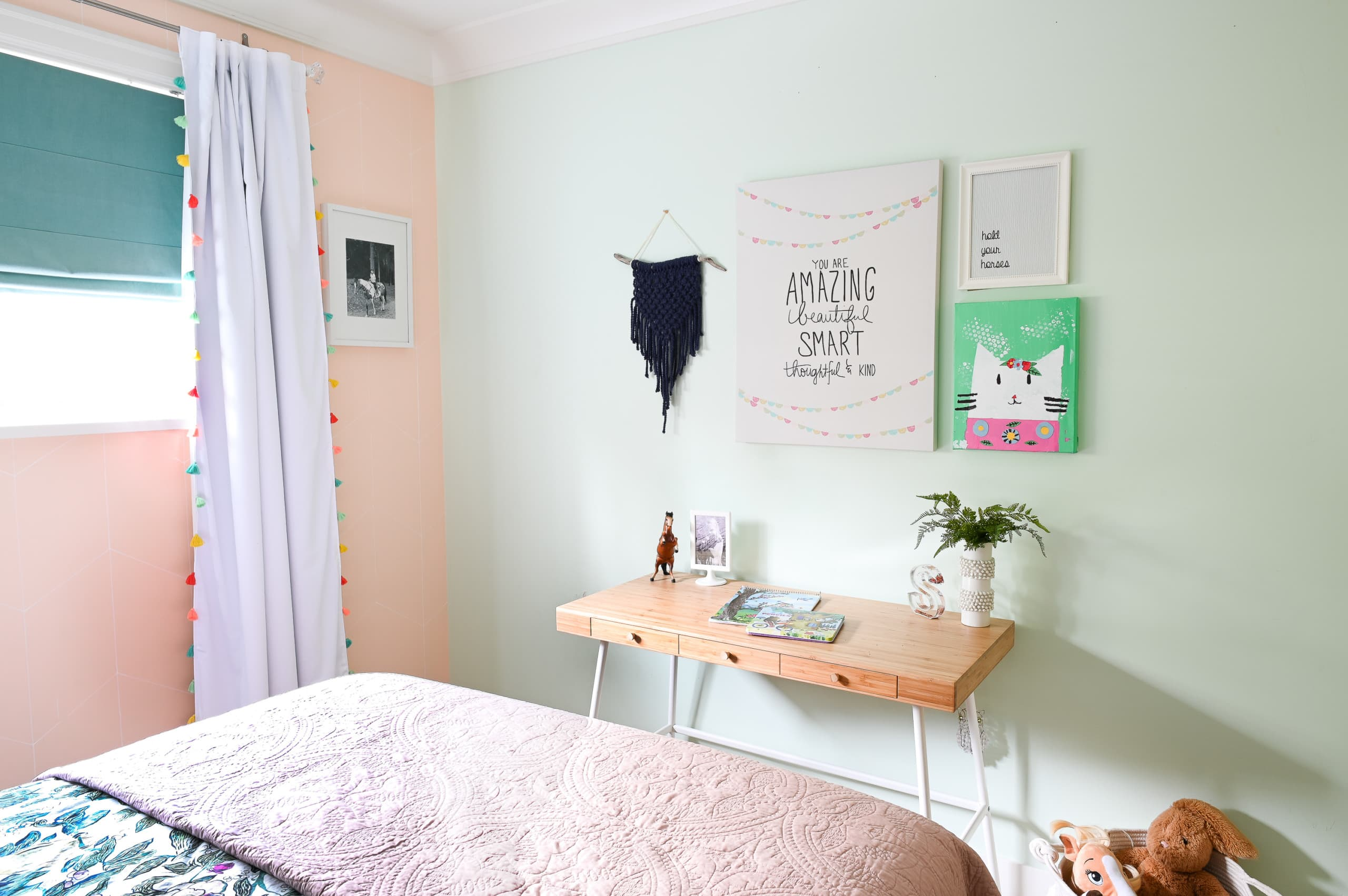 Desk in teenager girl room