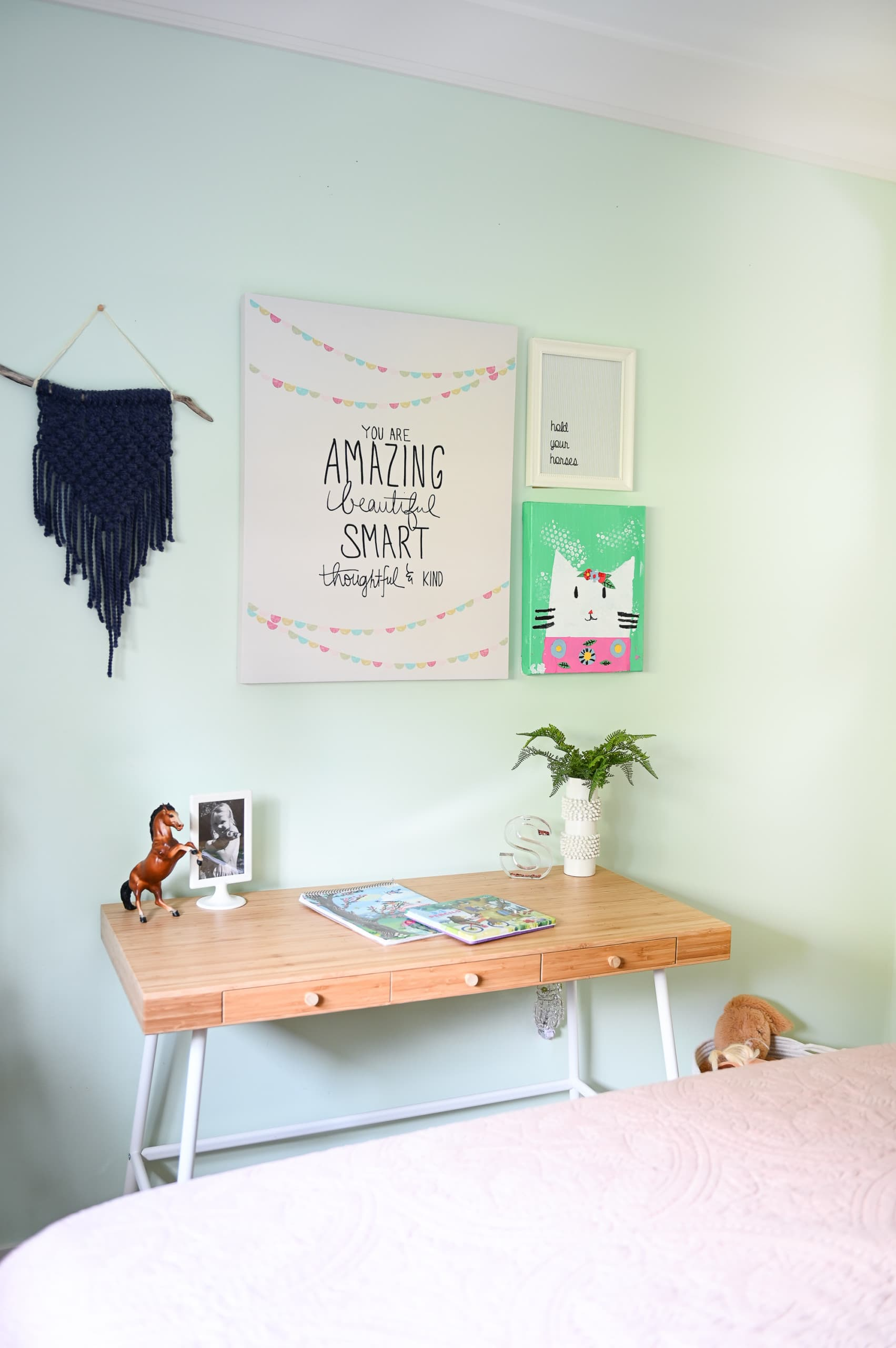Desk with gallery wall