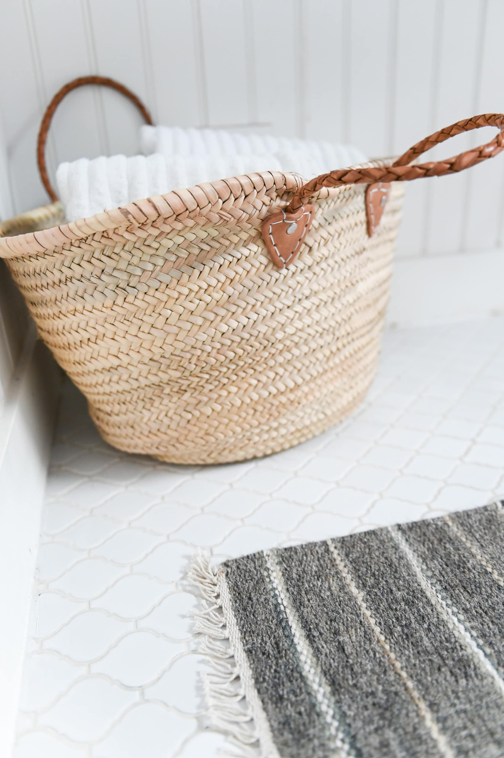 Basket in bathroom