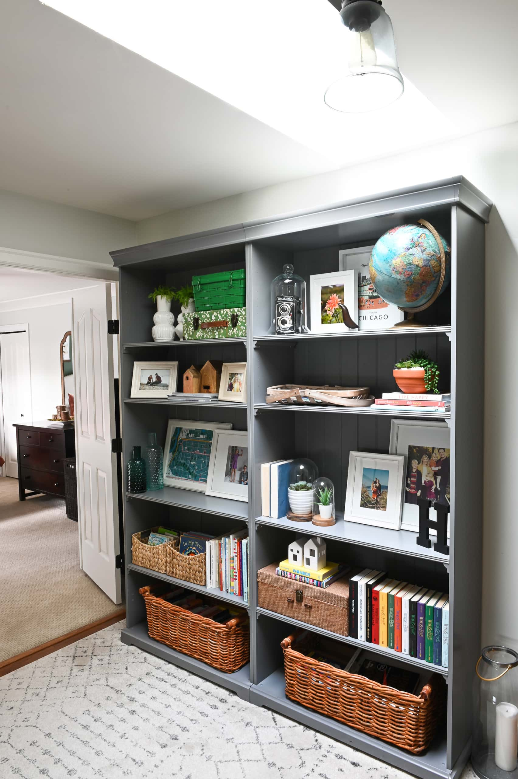 Styled bookshelves in a family-friendly home