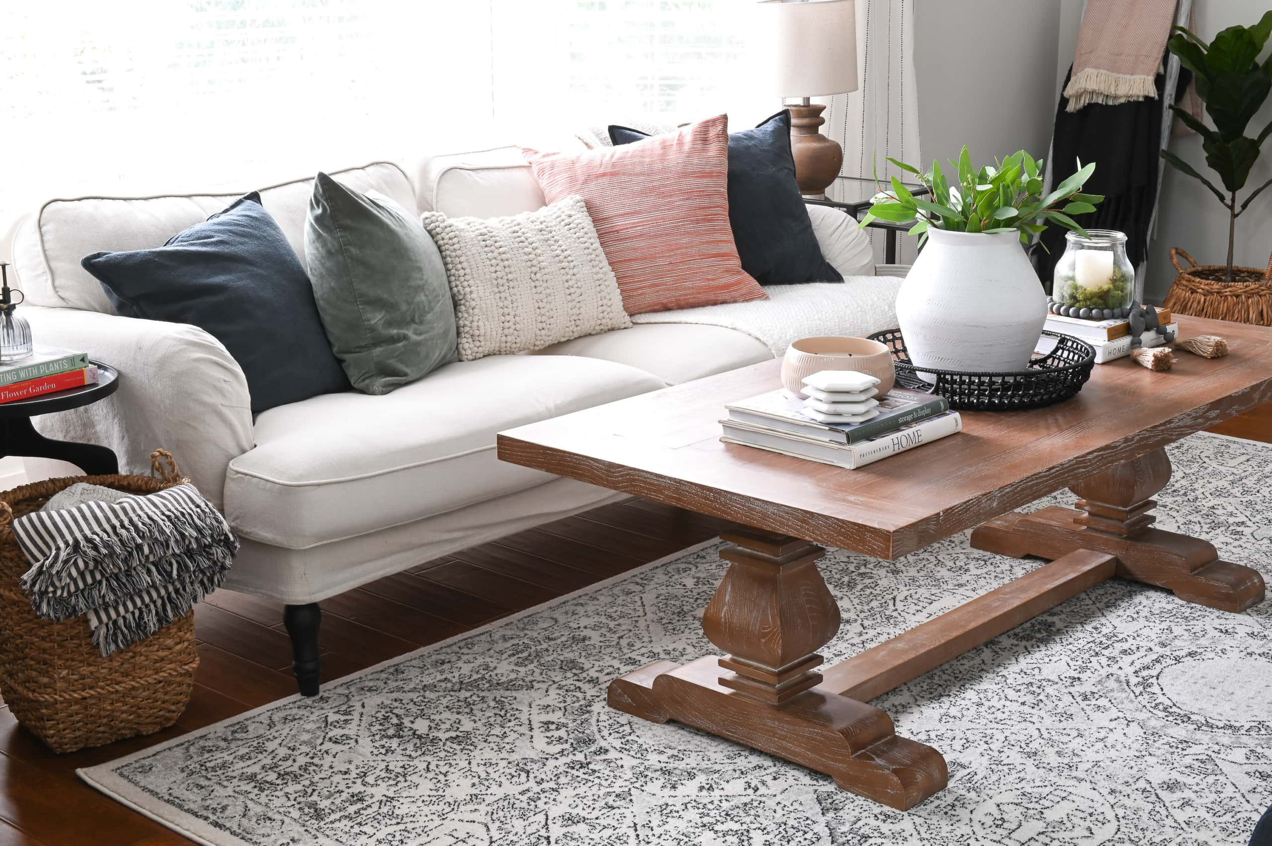 Living room and wood coffee table