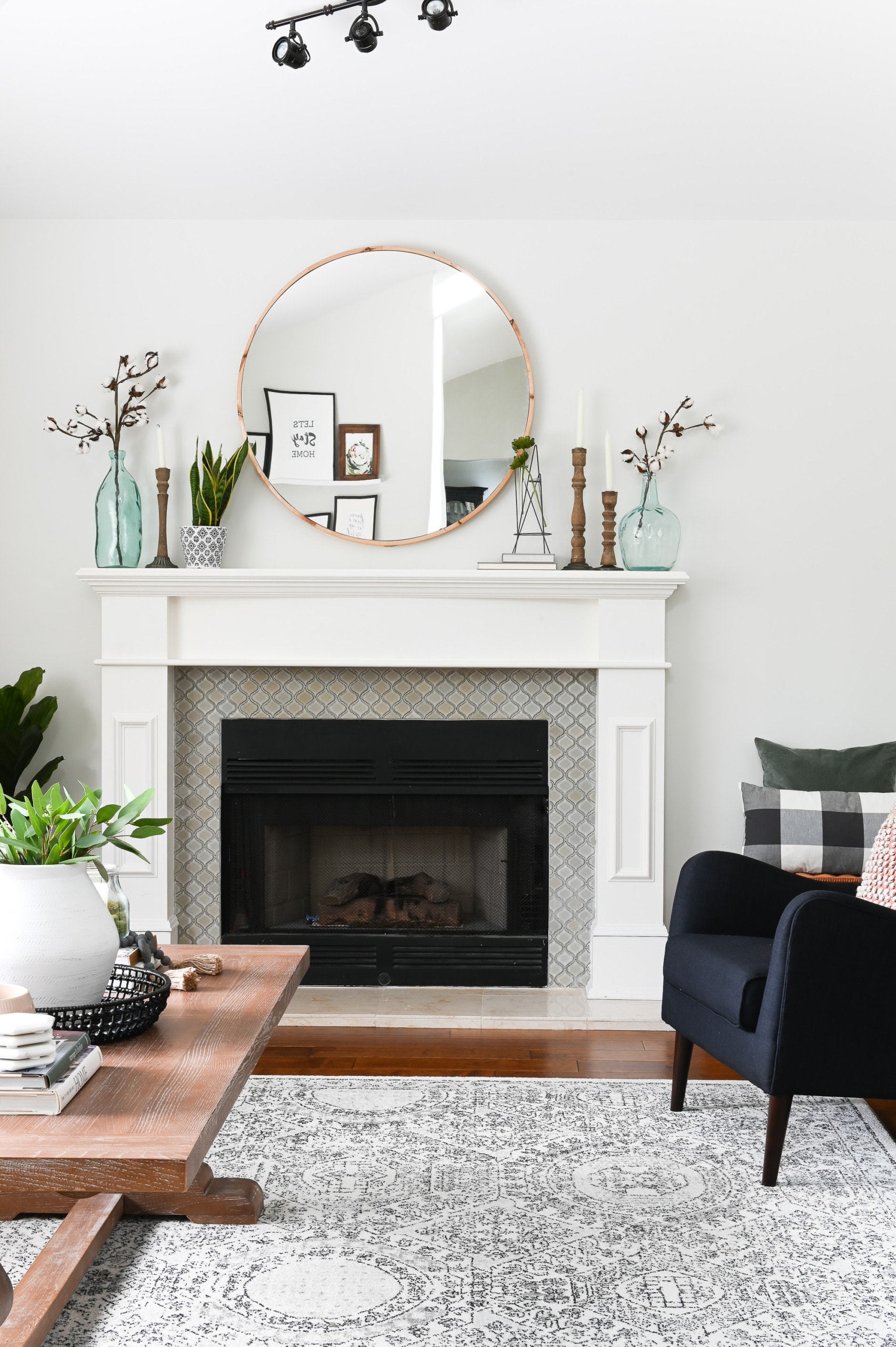 Living room fireplace and mantle
