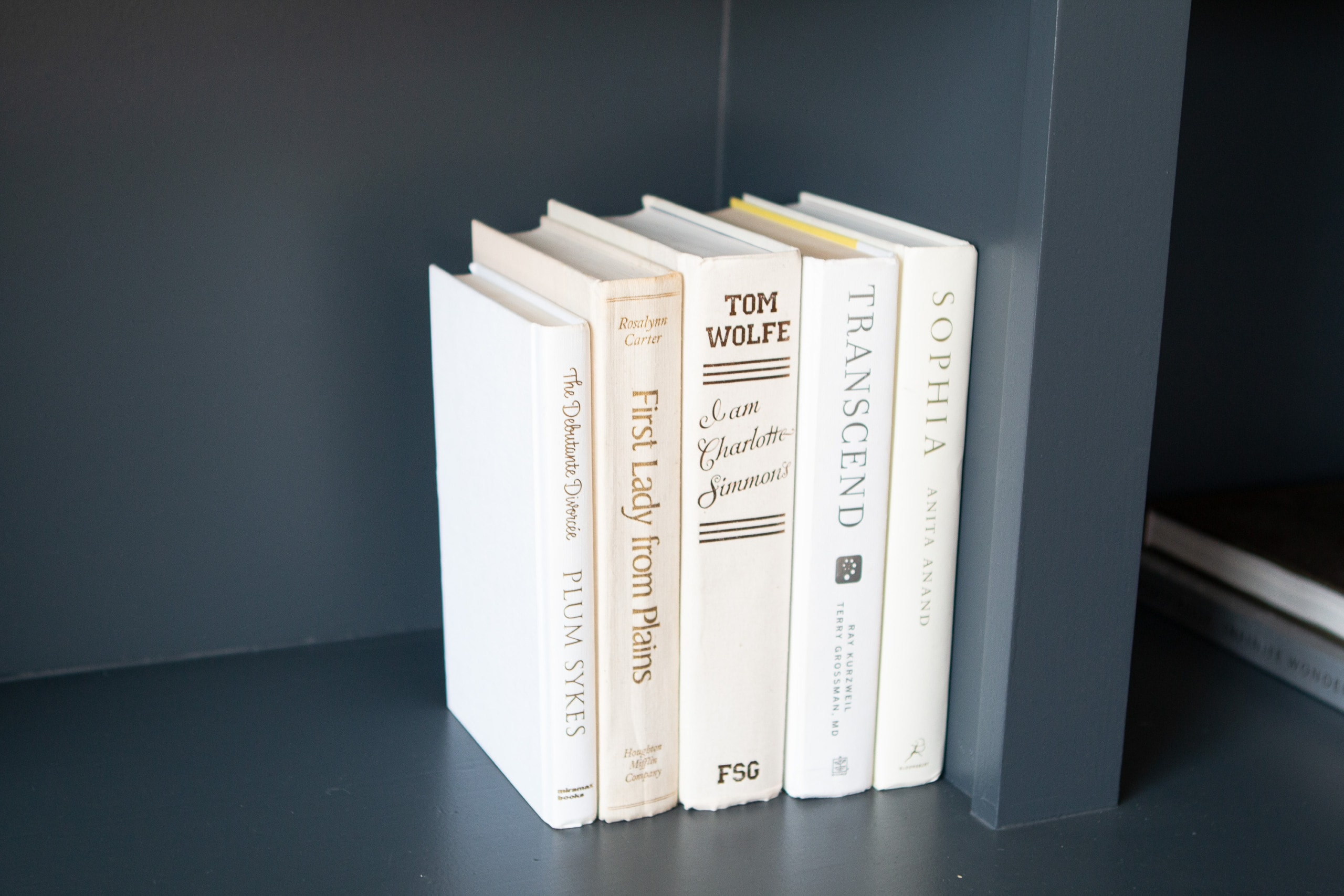White hardcover books
