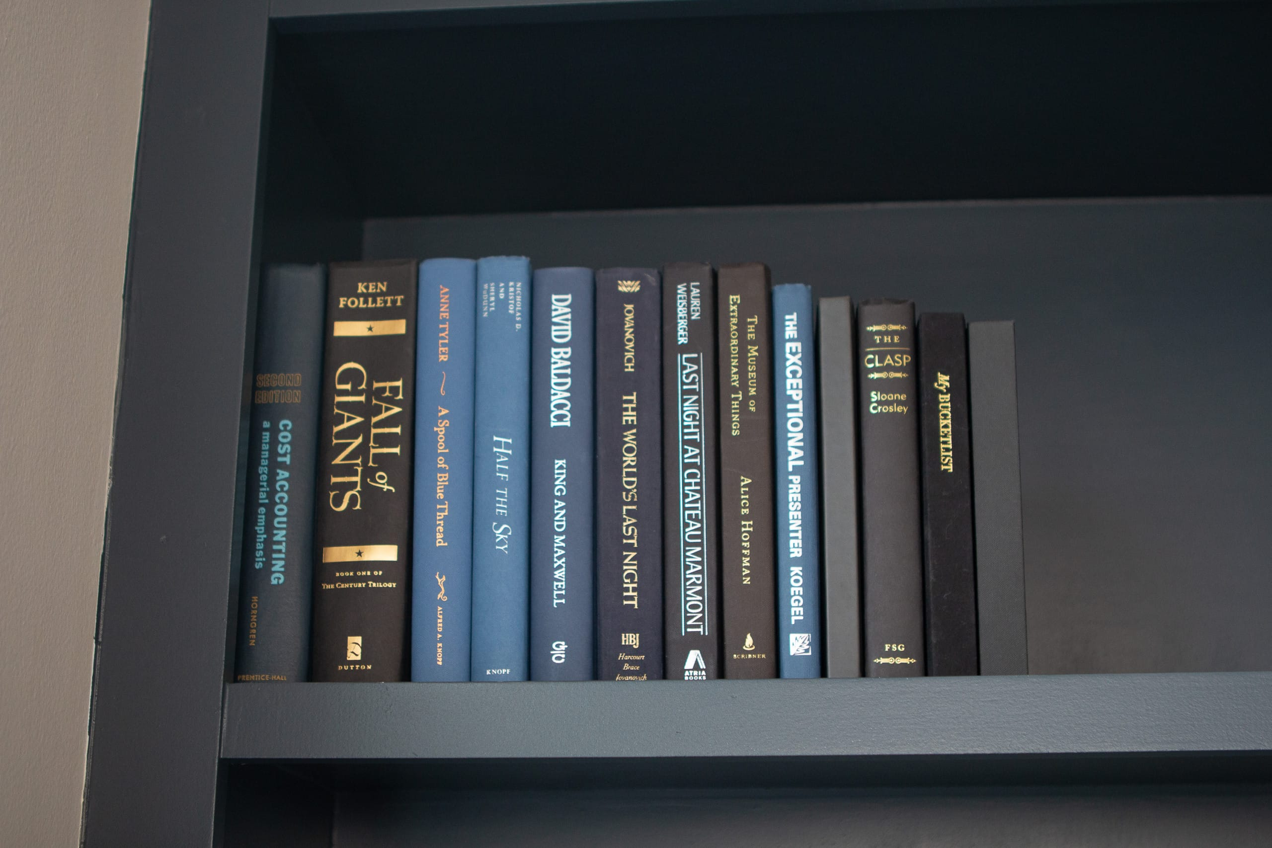 Blue hardcover books on built-ins