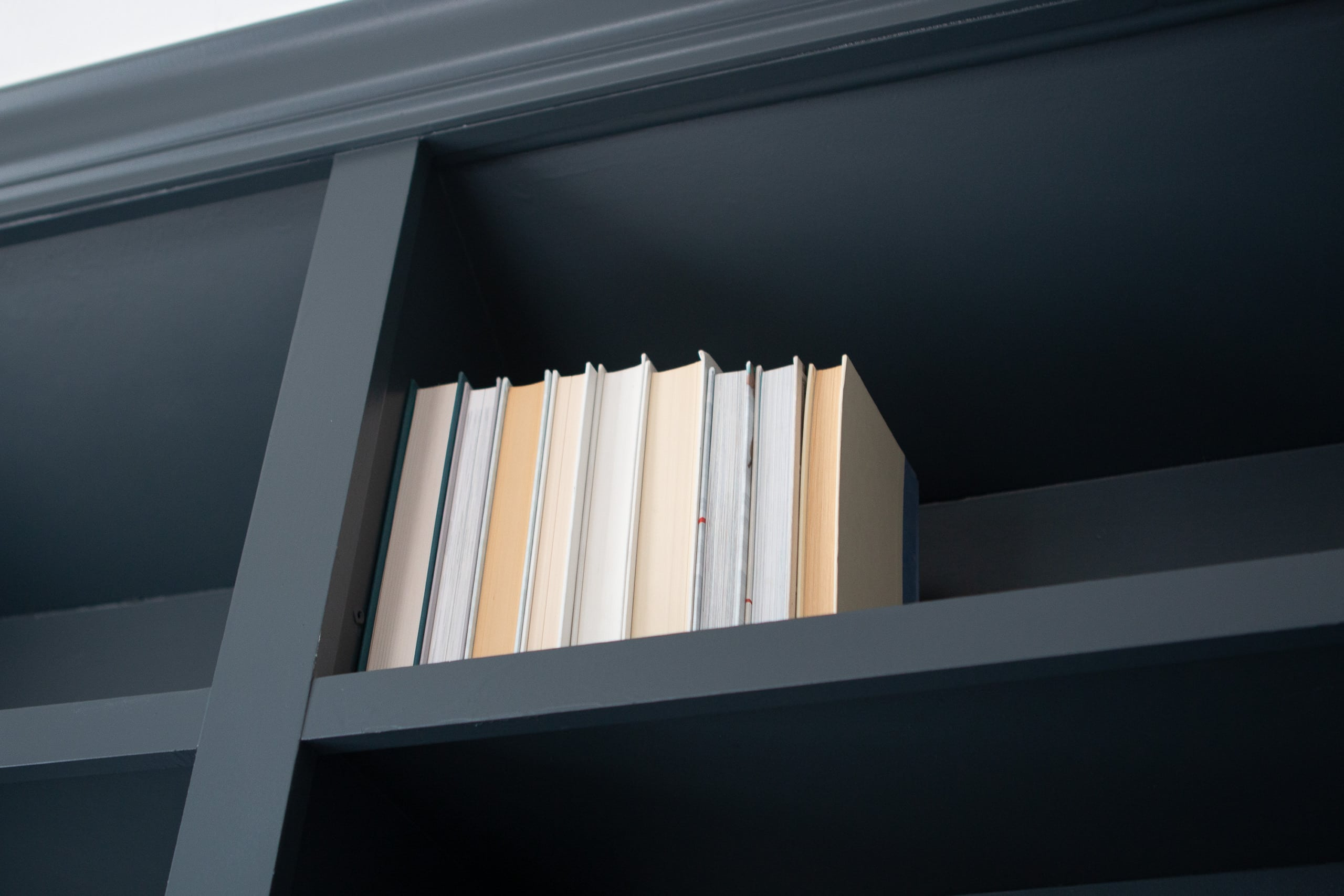 Turning books around to hide spines
