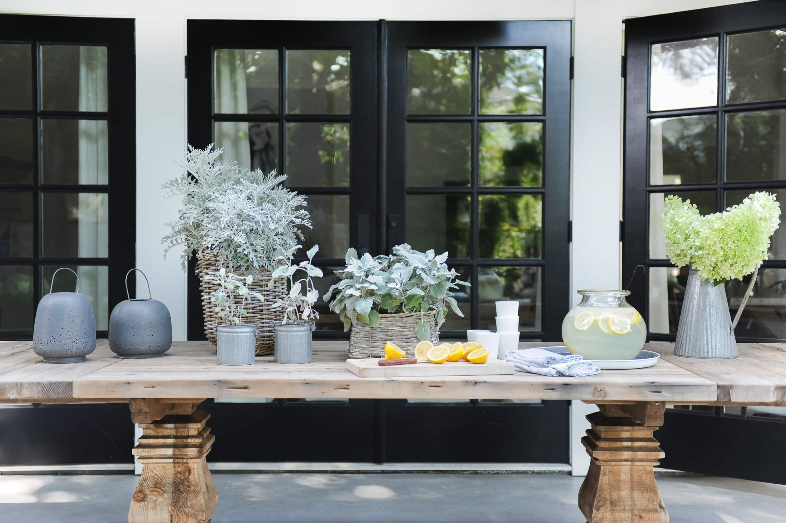 Large outdoor table for dining