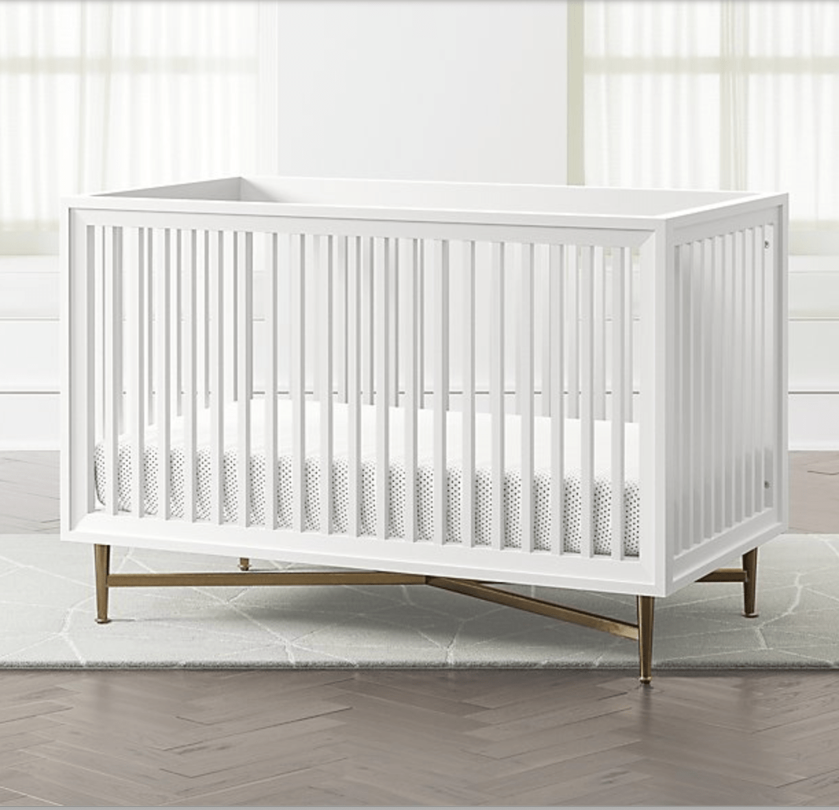 white crib from crate and kids