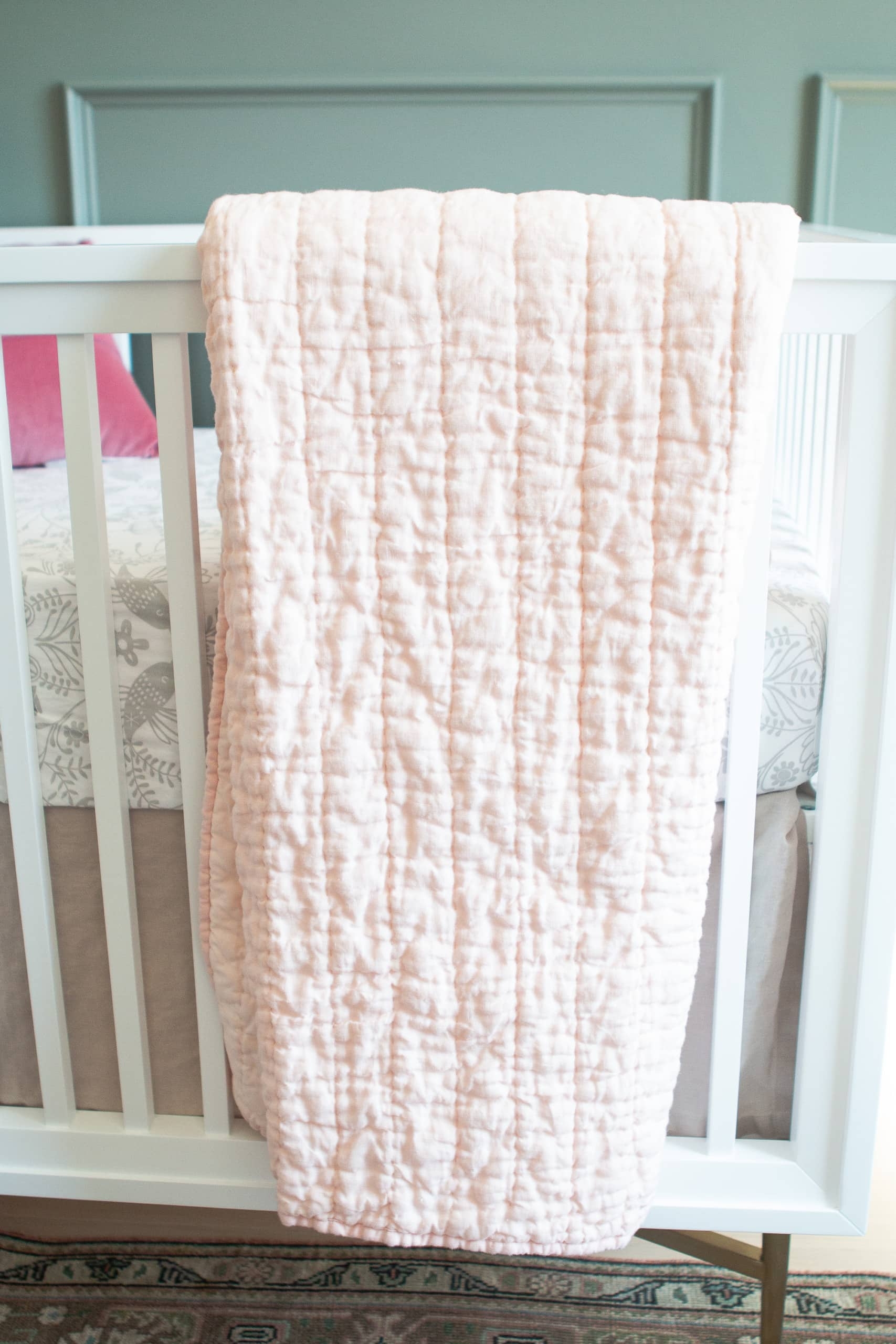 Blush quilt for nursery