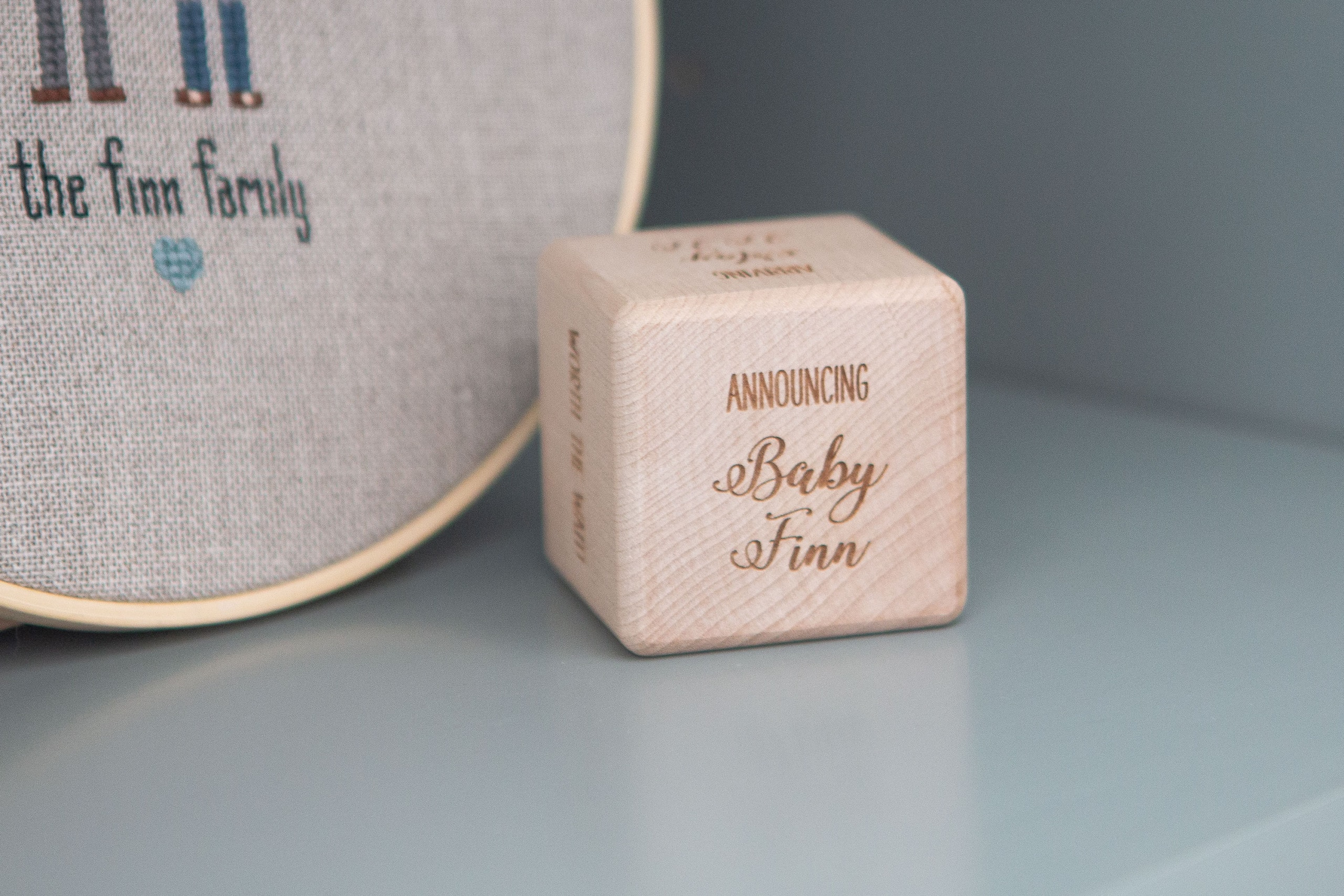 Announcing baby Finn wood block
