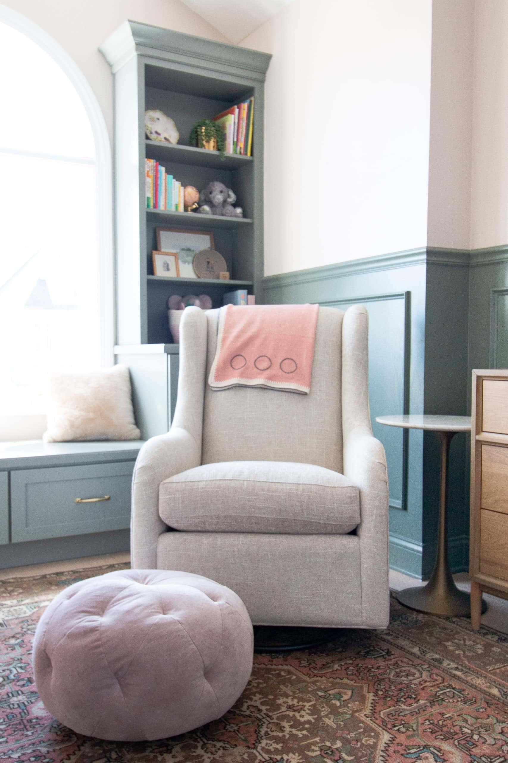 Nursery glider and foot stool