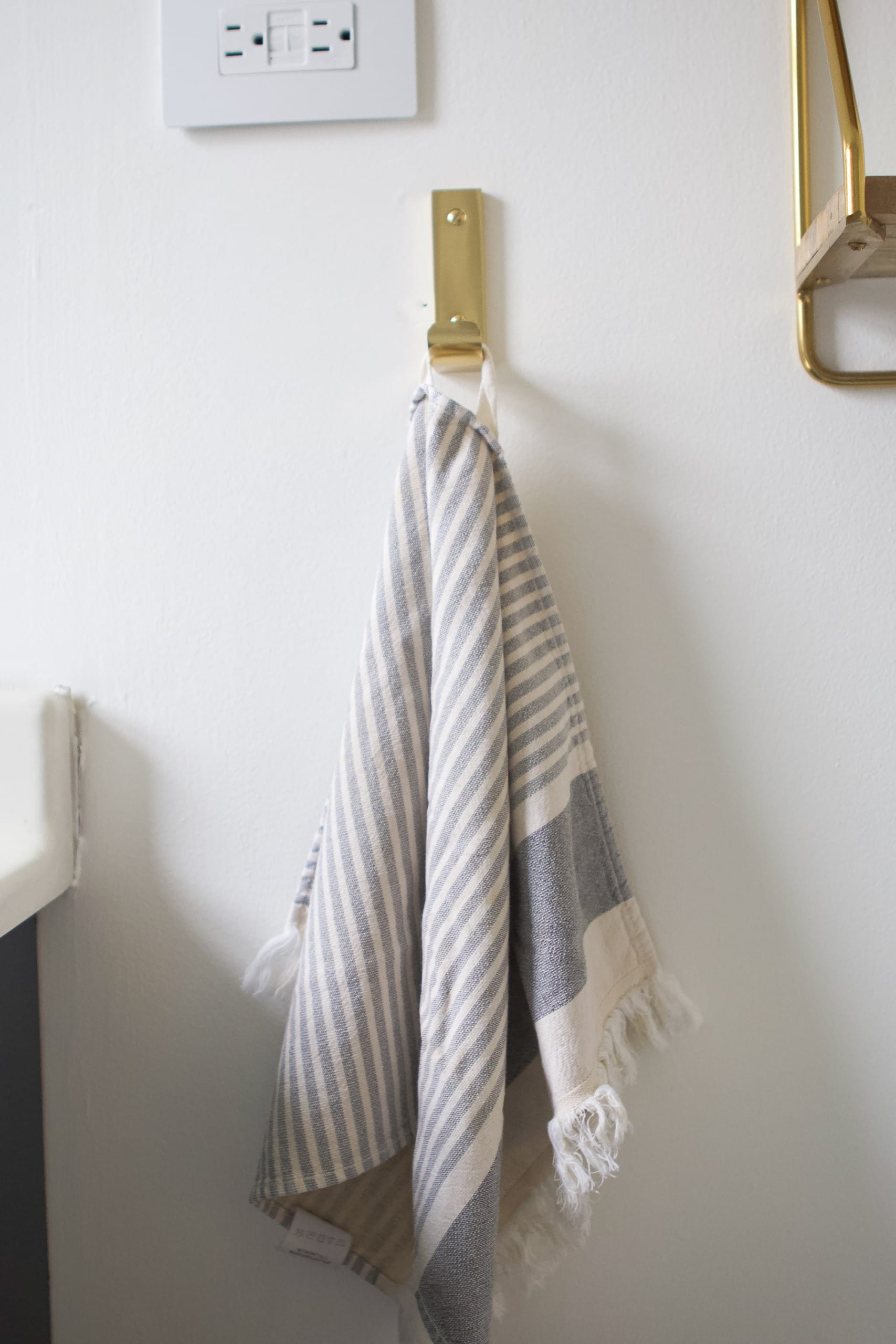 Brass hand towel hook