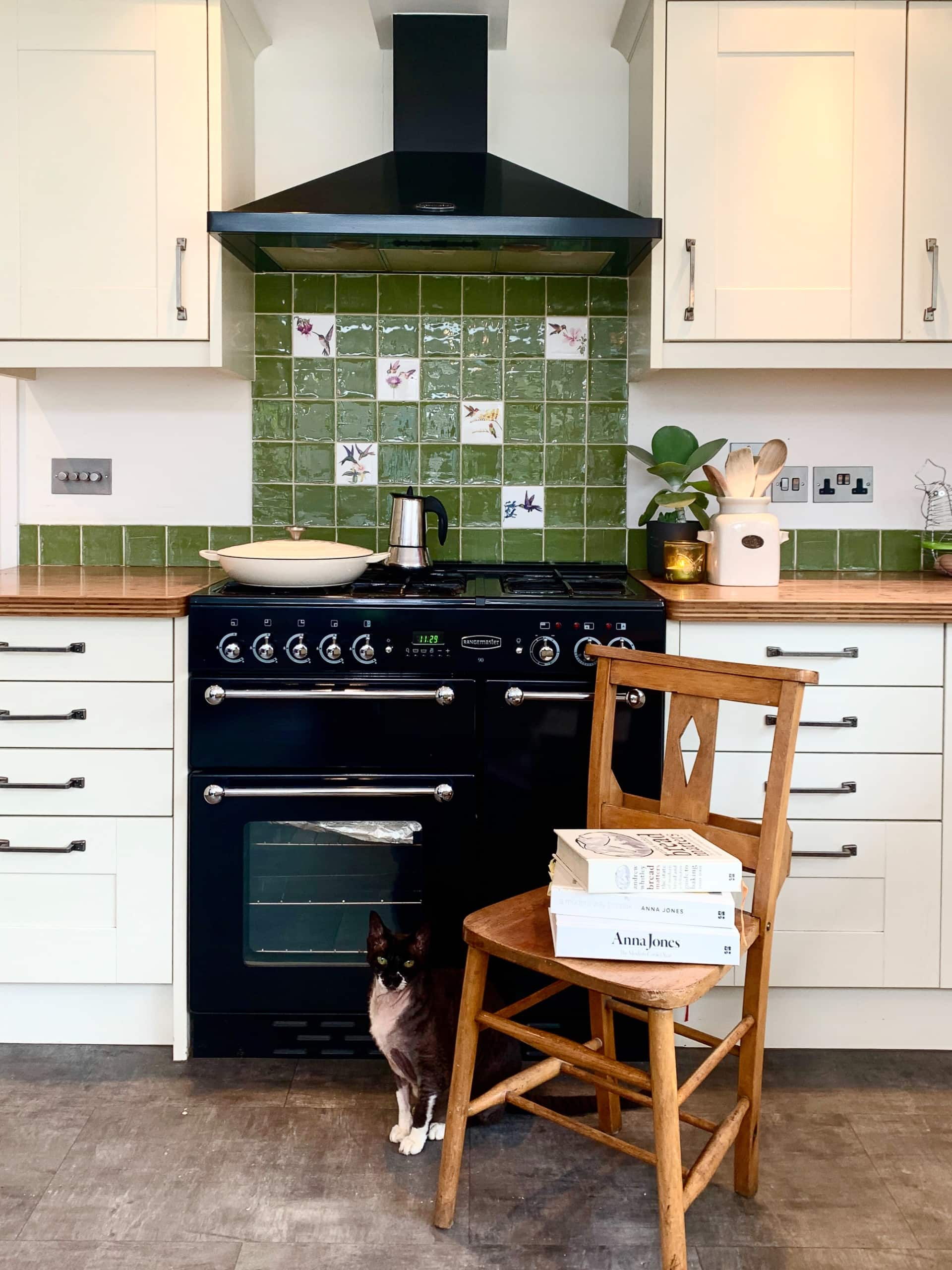 green tile over a stove