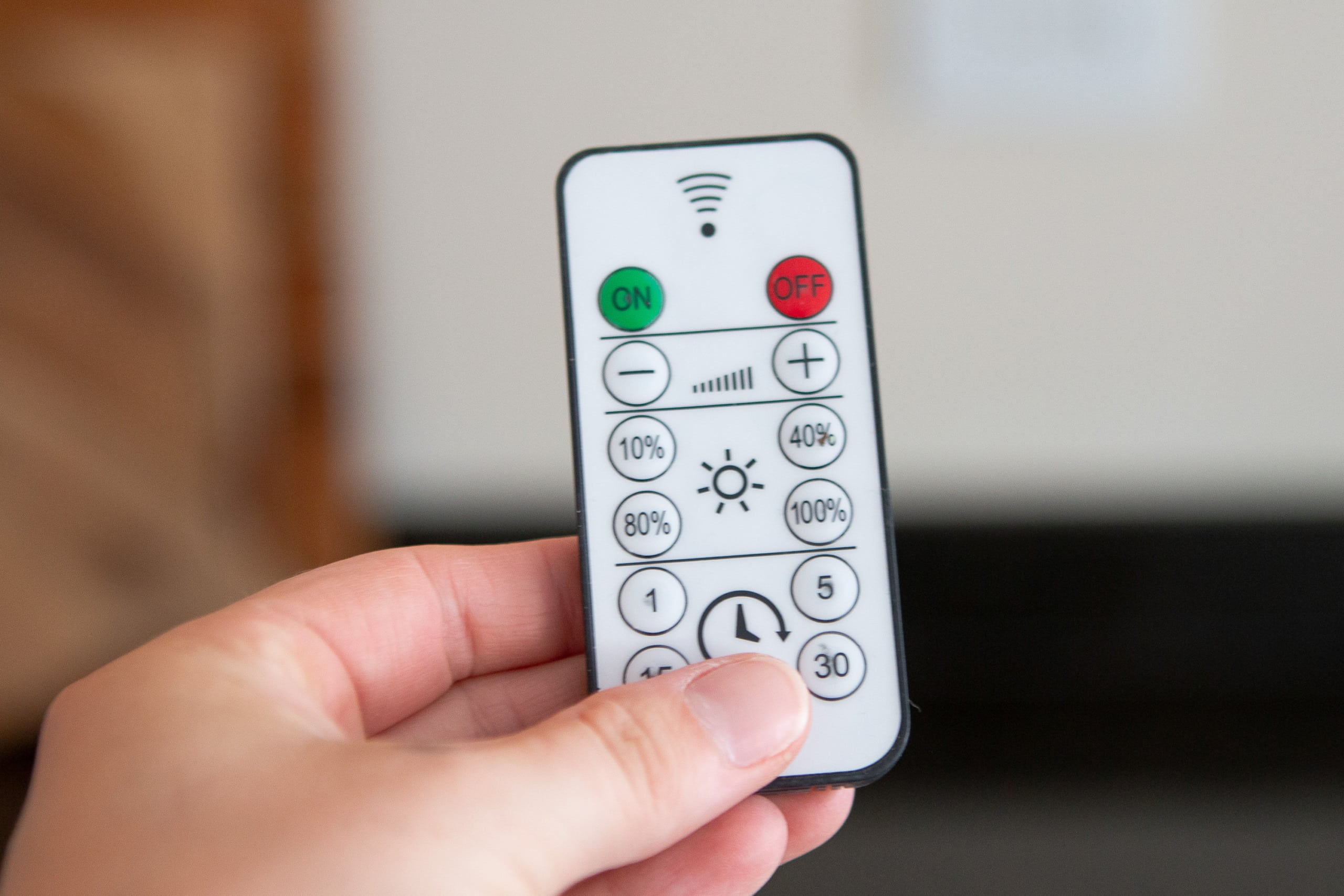 Remote control for under cabinet lighting in the kitchen