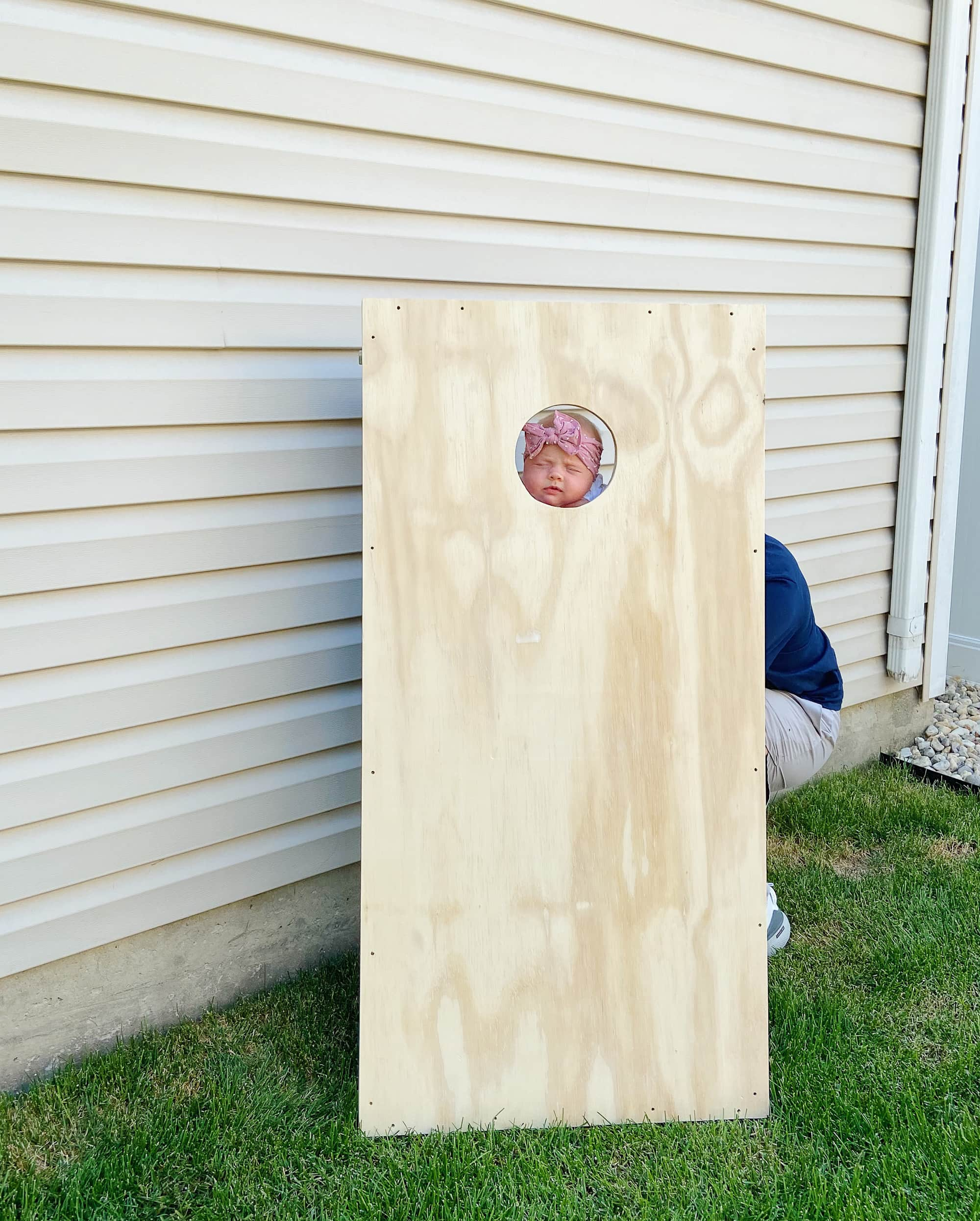Rory with our DIY cornhole boards