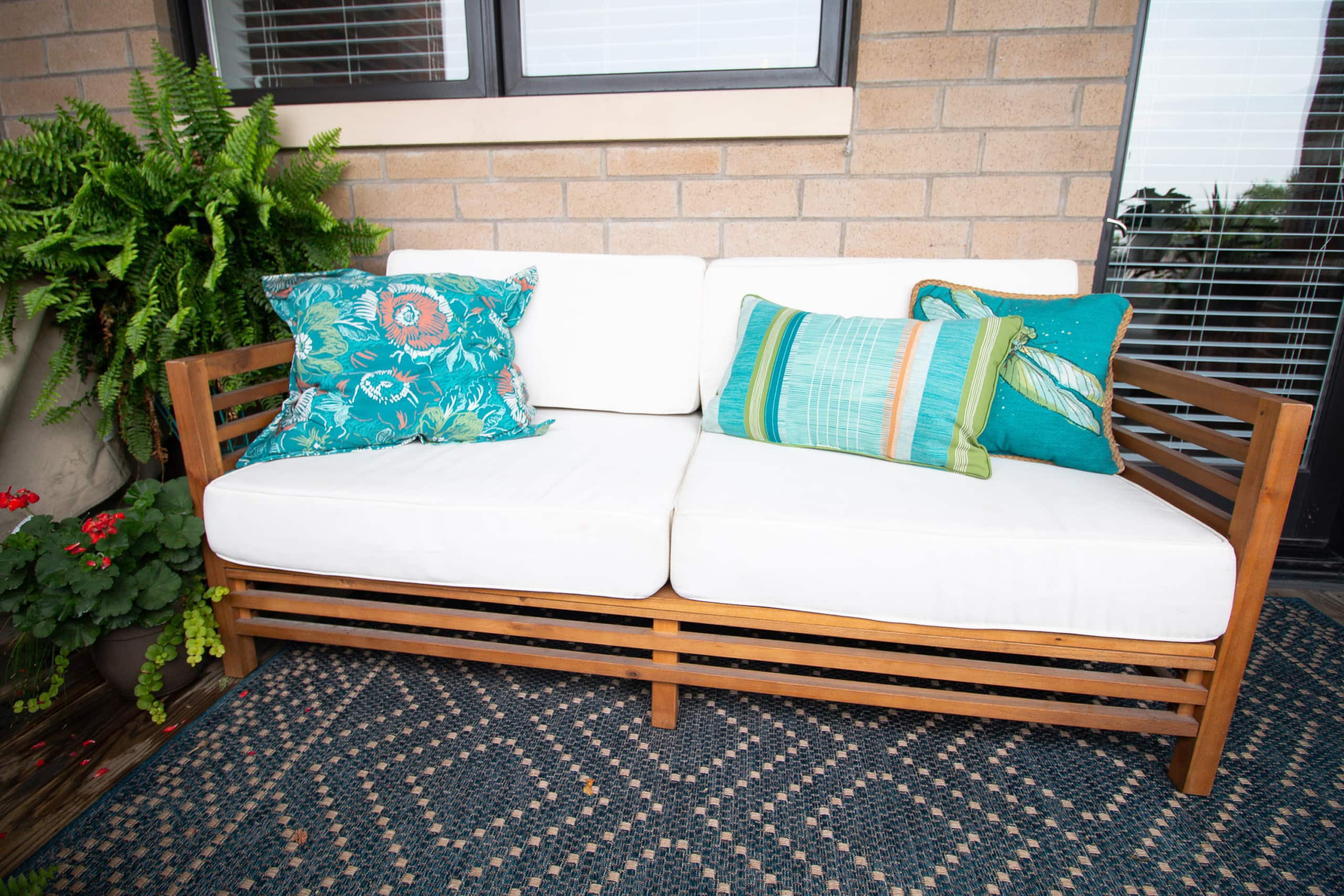 outdoor couch and pillows