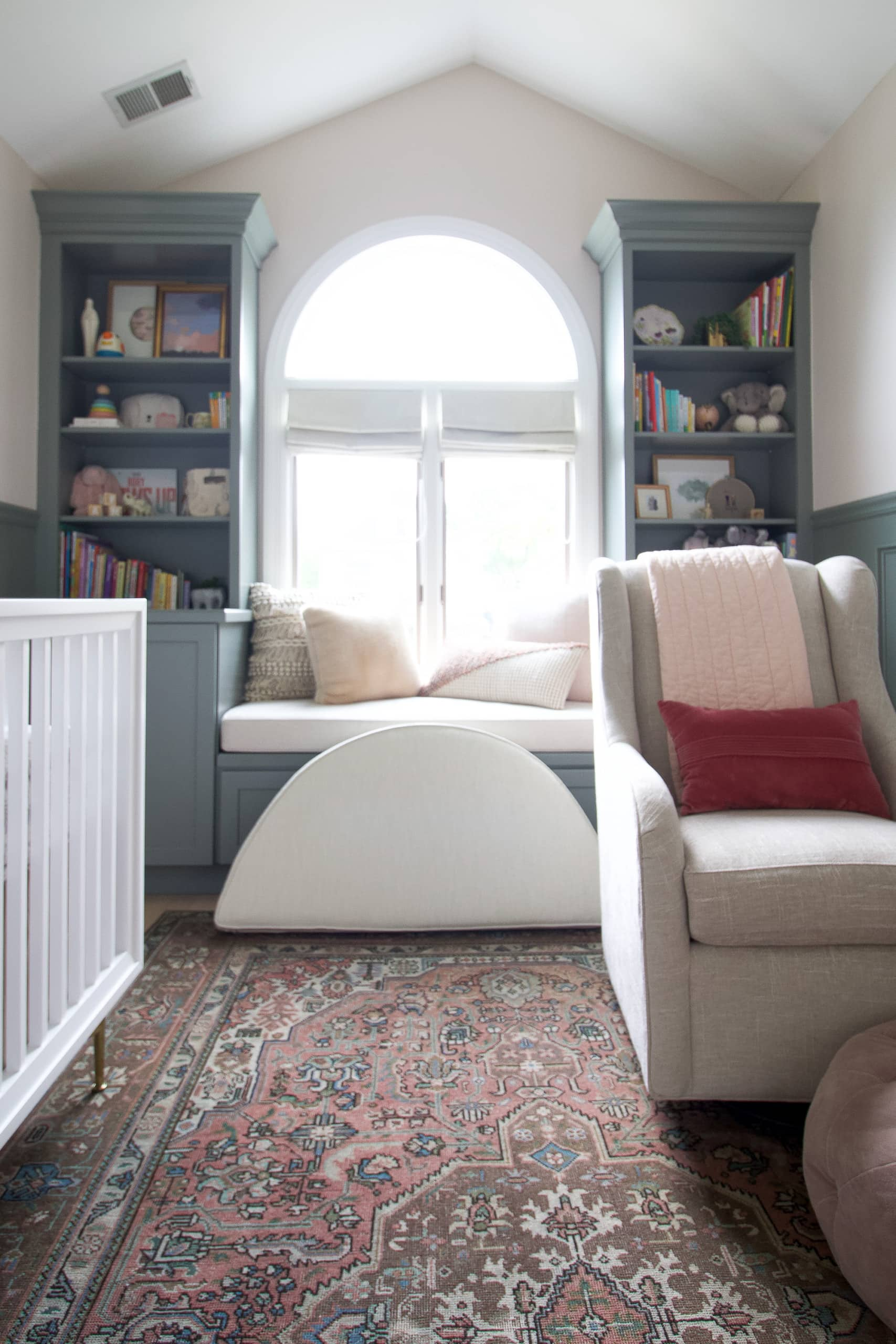 Use a pillow to cover the window in an arched window