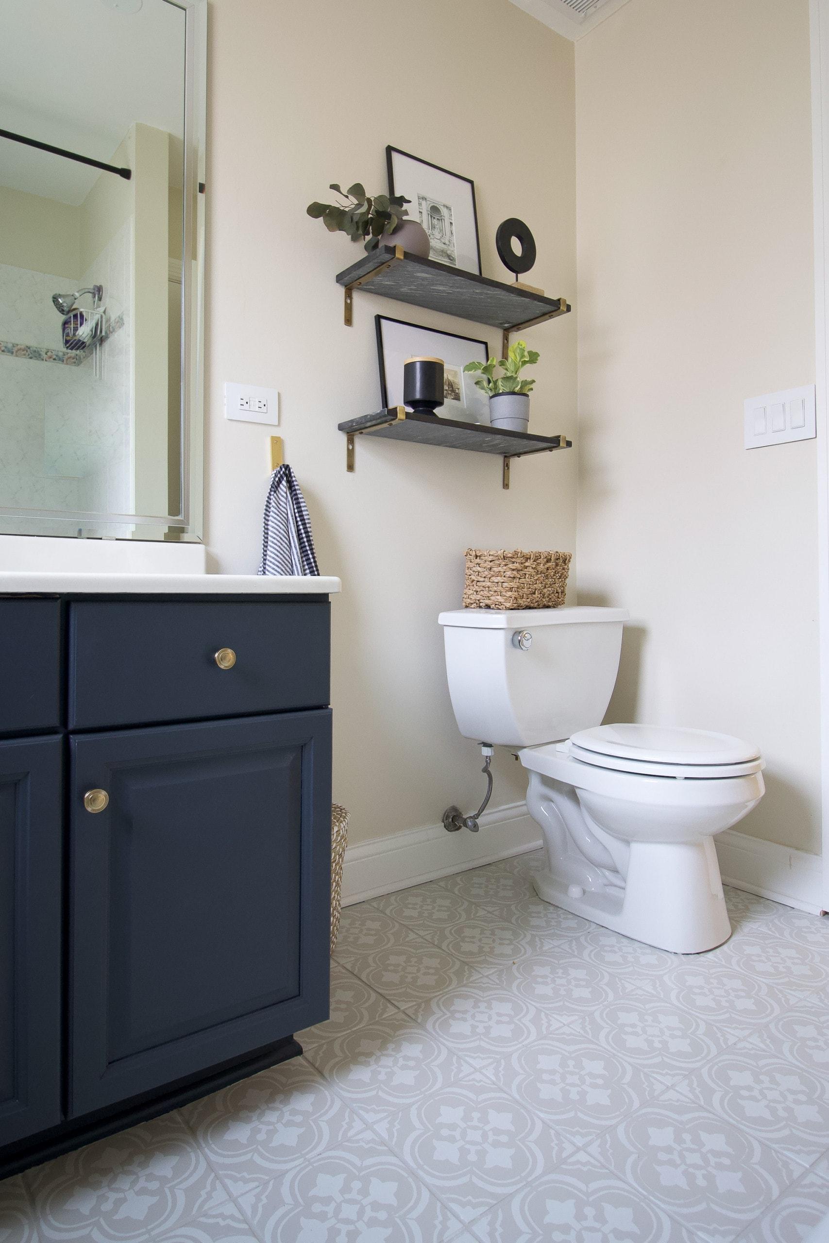 How to paint a bathroom vanity dark navy