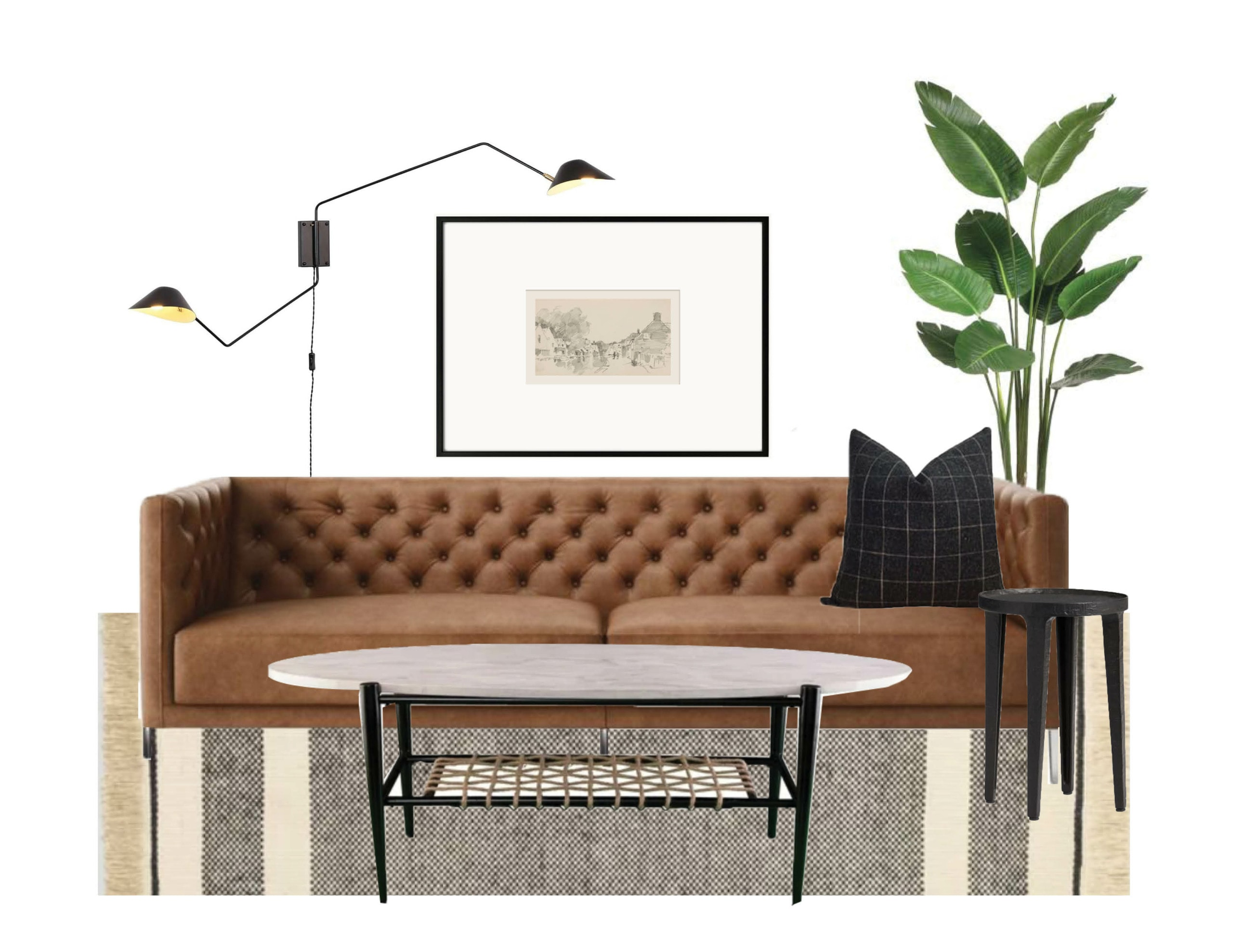 Leather couch in a mid-century modern spanish bungalow