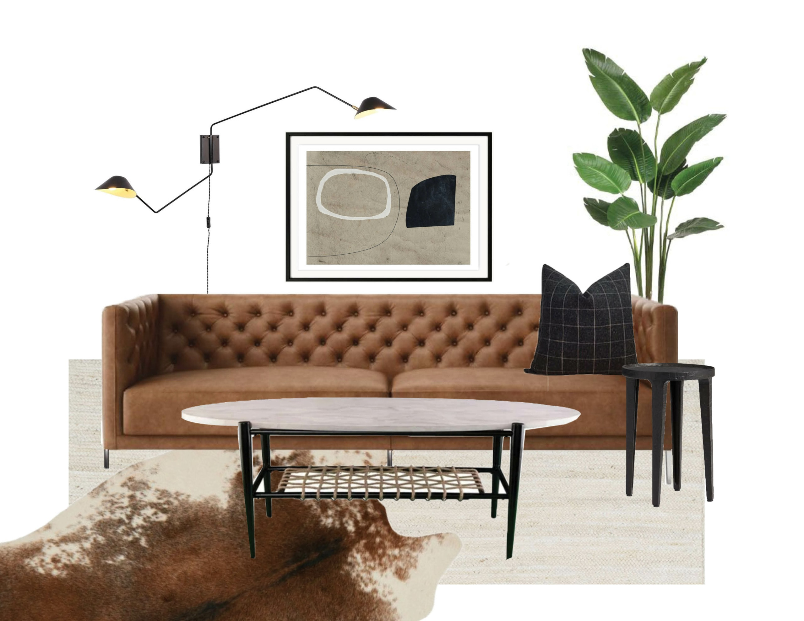 Choosing a leather couch for a living room in a mid-century modenr spanish bungalow