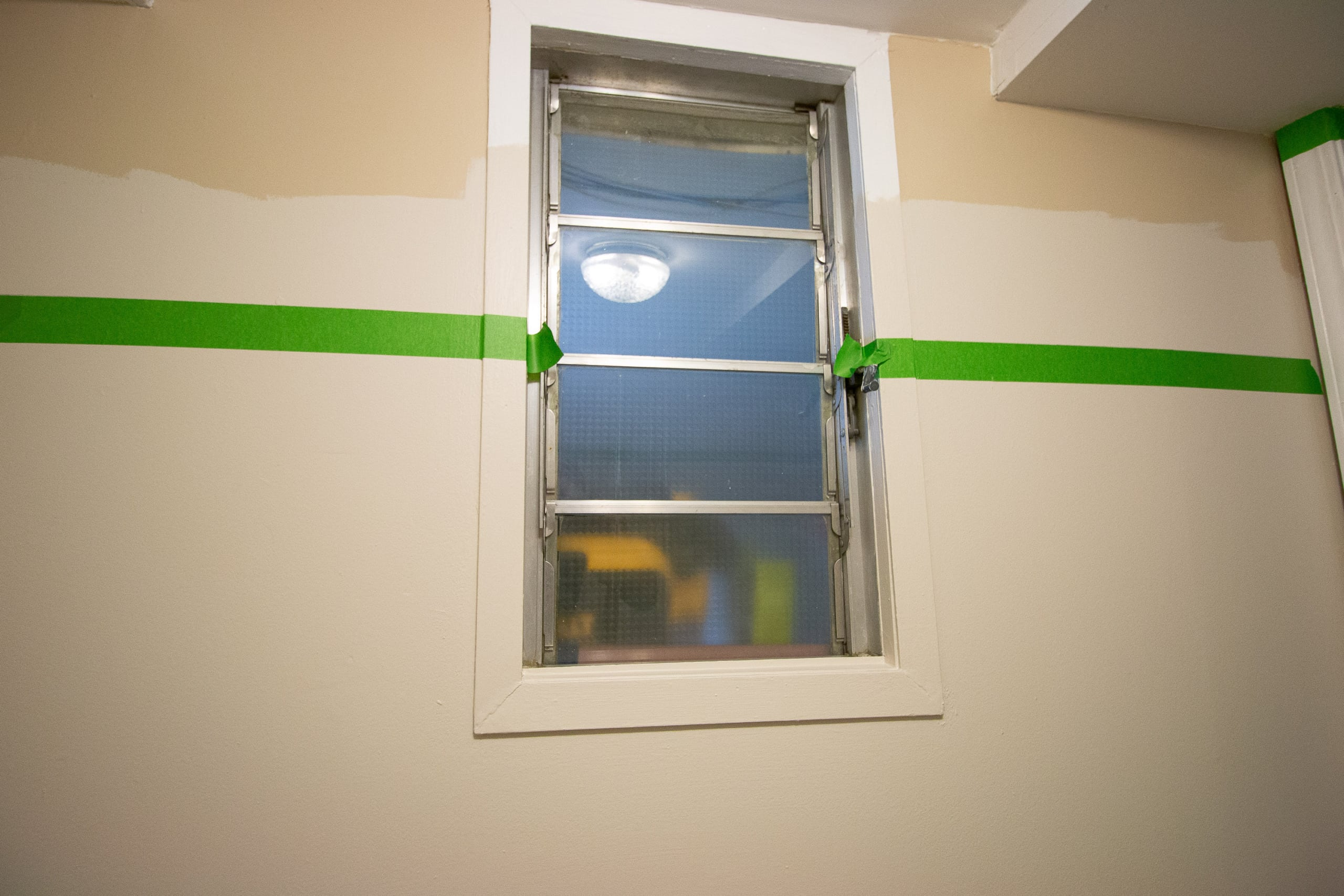 Painter's tape to make two-tone walls