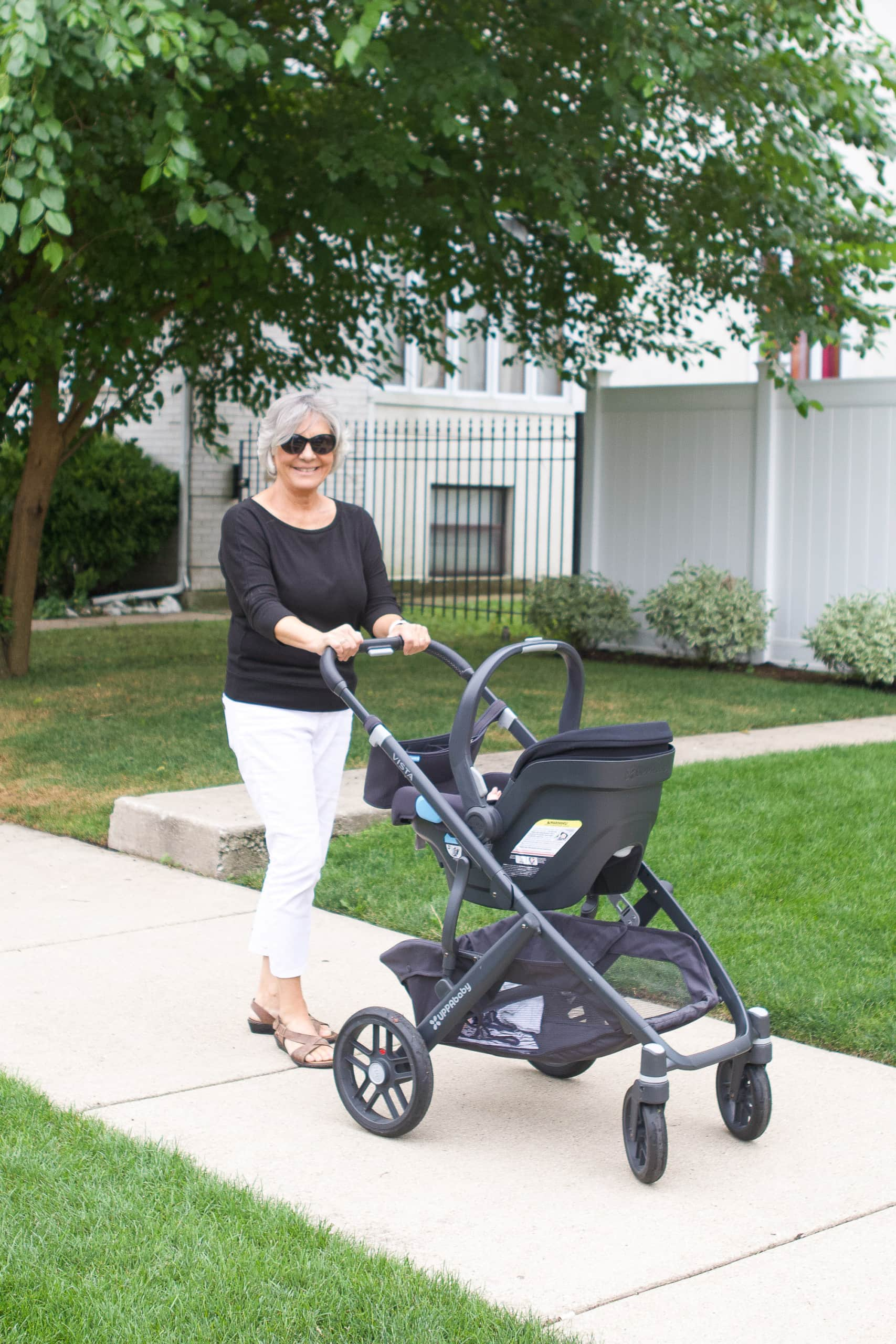 My mom taking Rory for a walk
