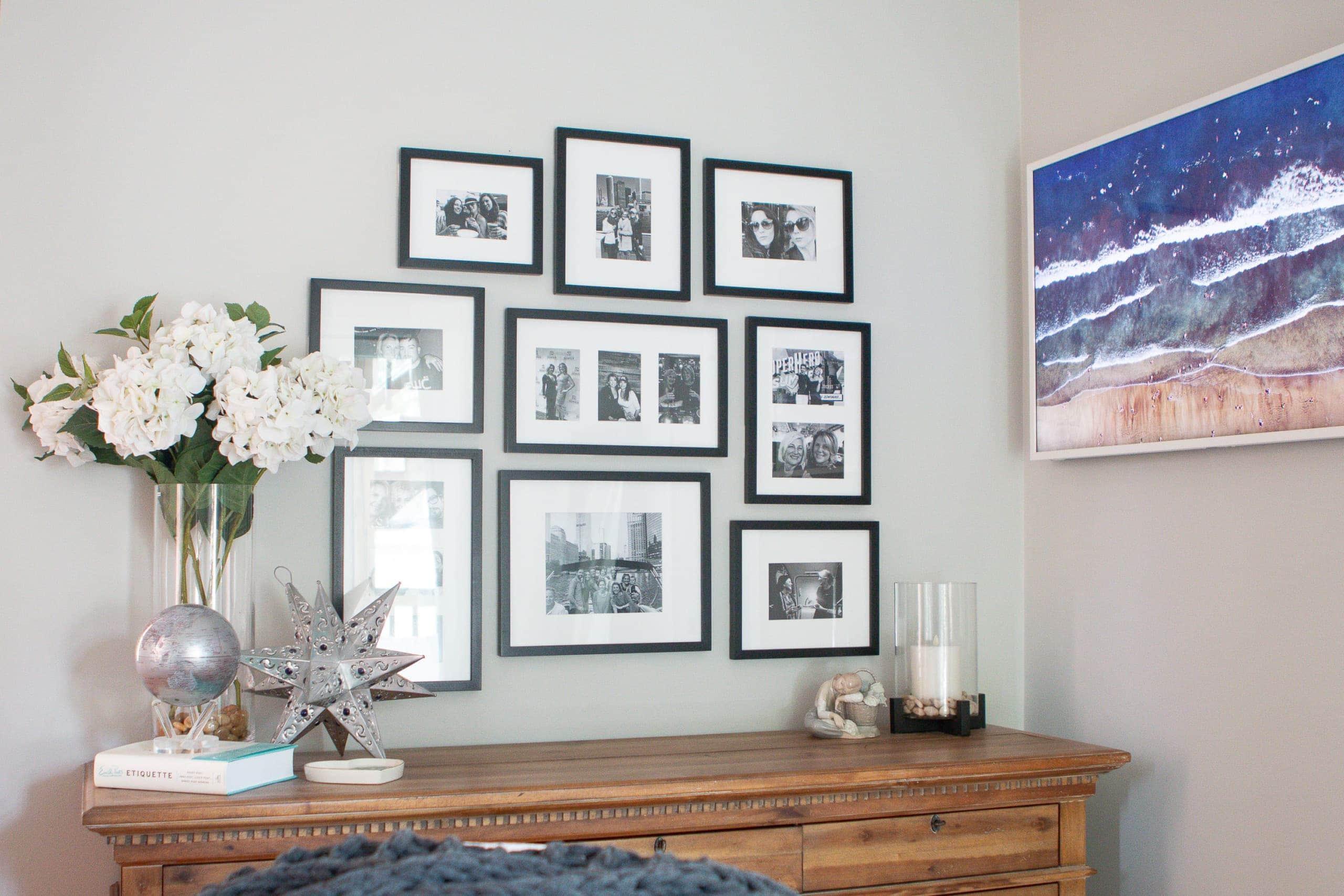 Adding black frames over a dresser