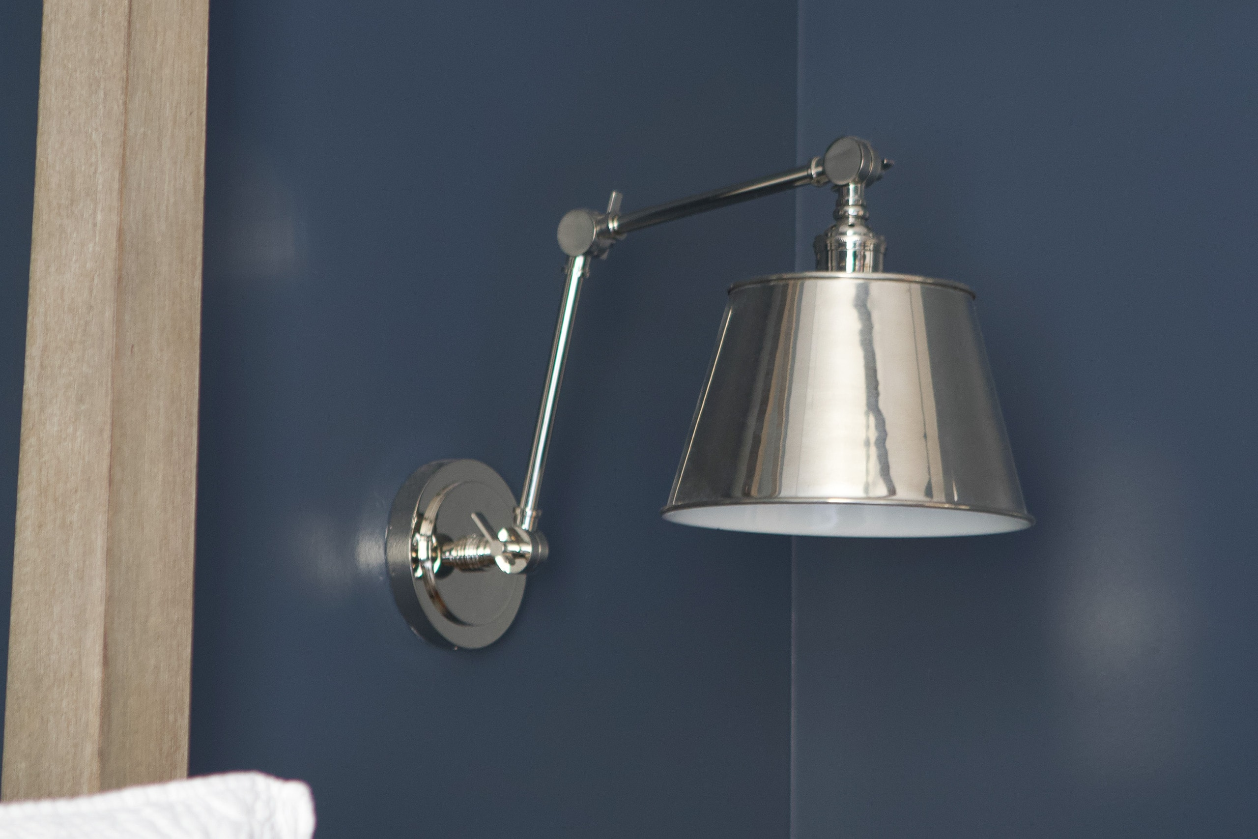 Silver sconces in the guest room