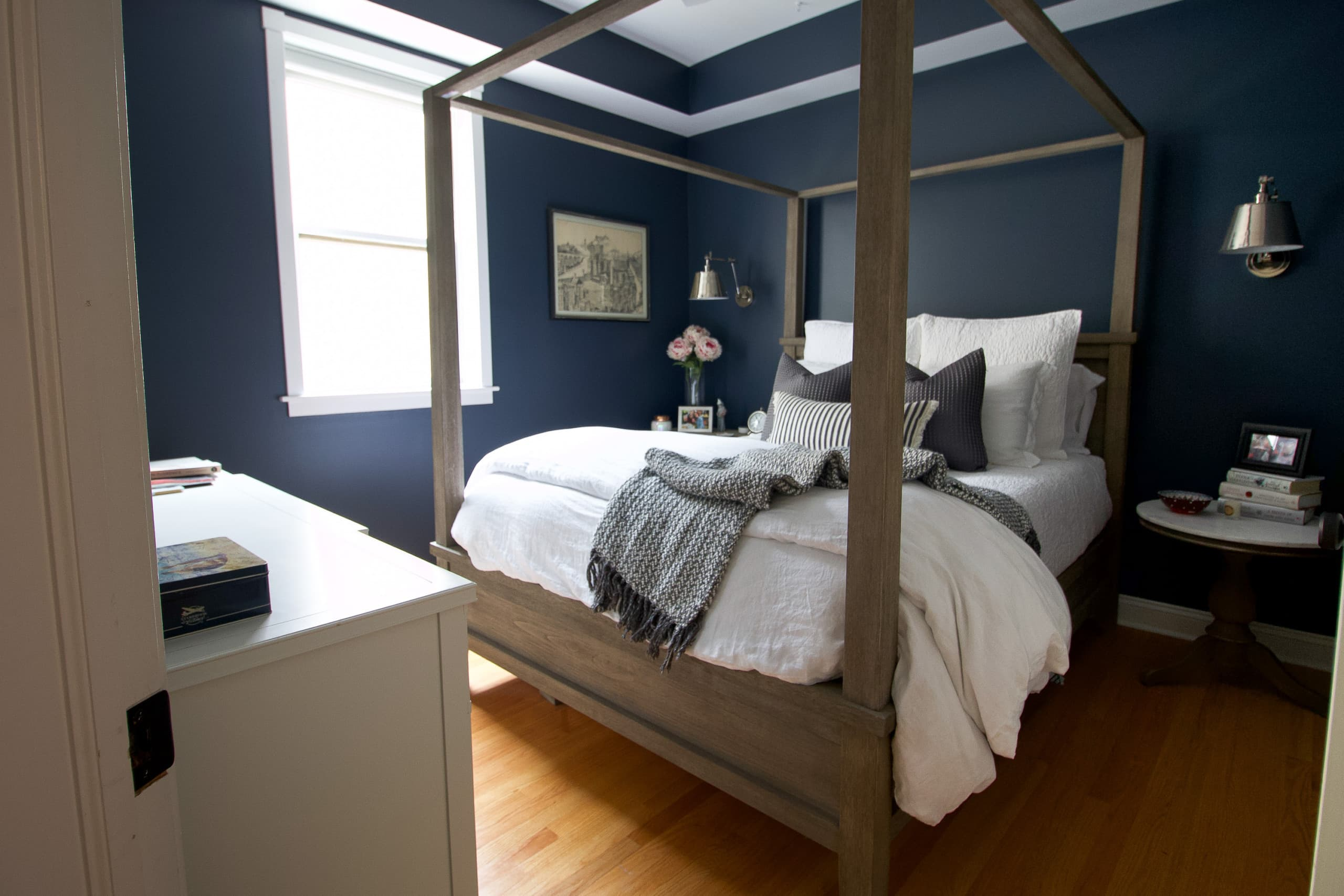 Dark paint in a guest bedroom retreat