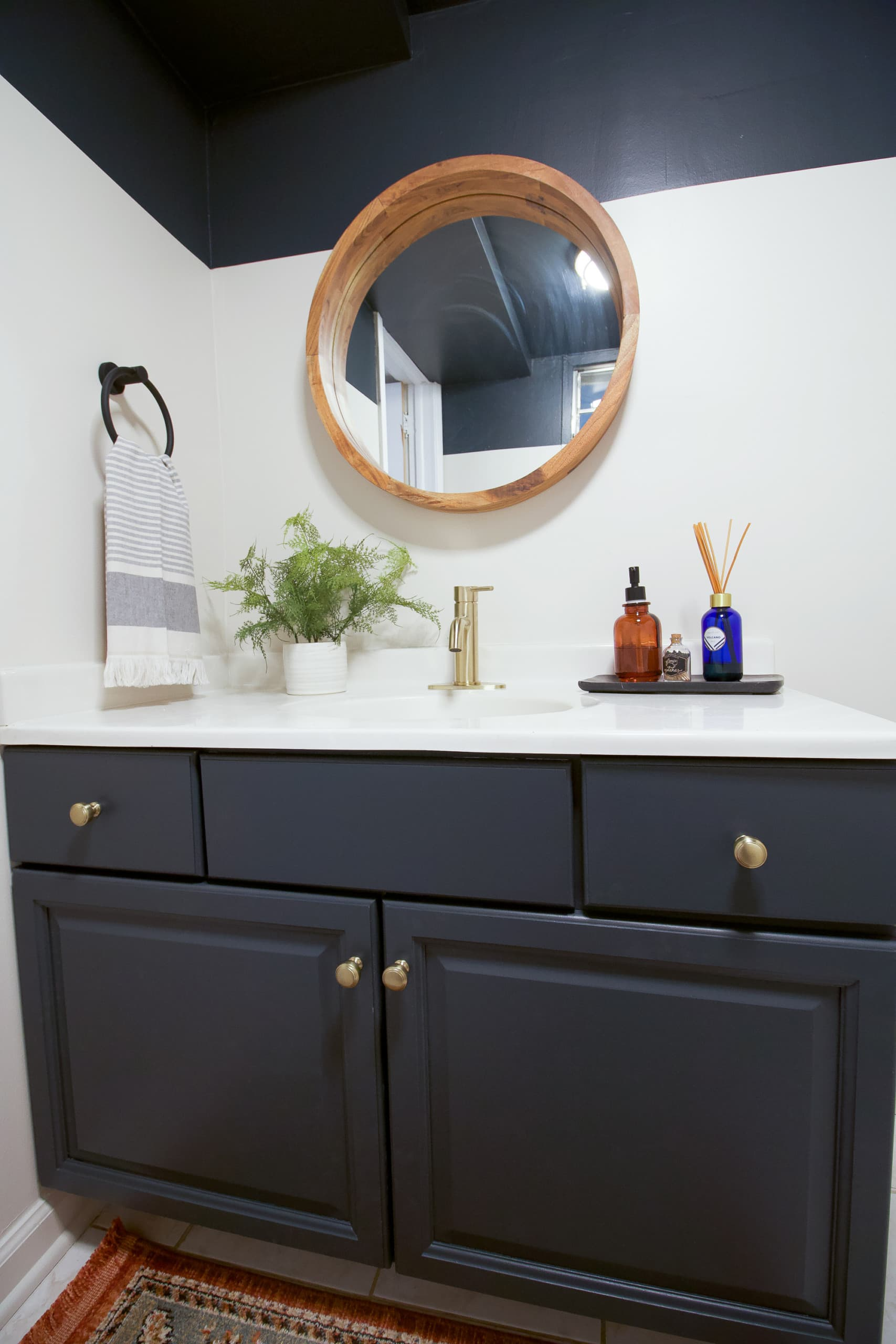 New painted vanity in the basement bathroom