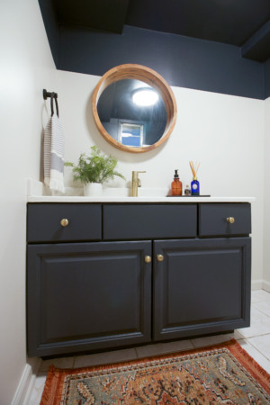 Thumbnail for Basement Bathroom Updates – Painted Vanity, New Light Fixture, & More
