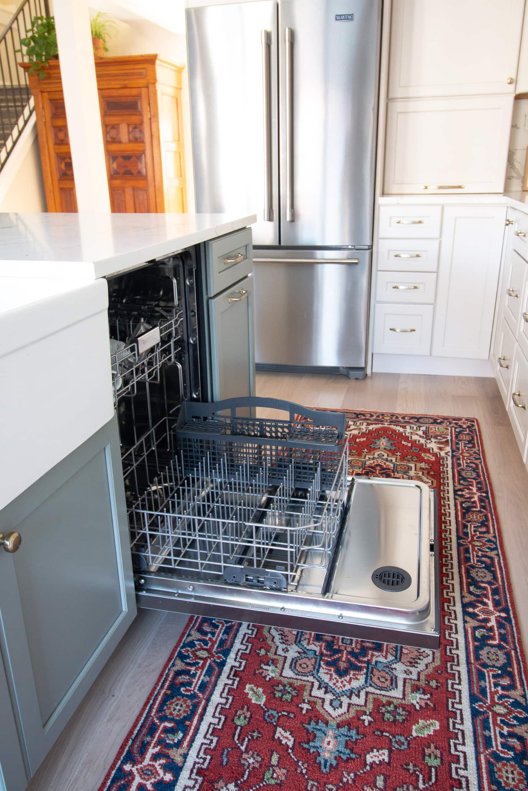 Our new kitchen appliances include a dishwasher from Maytag