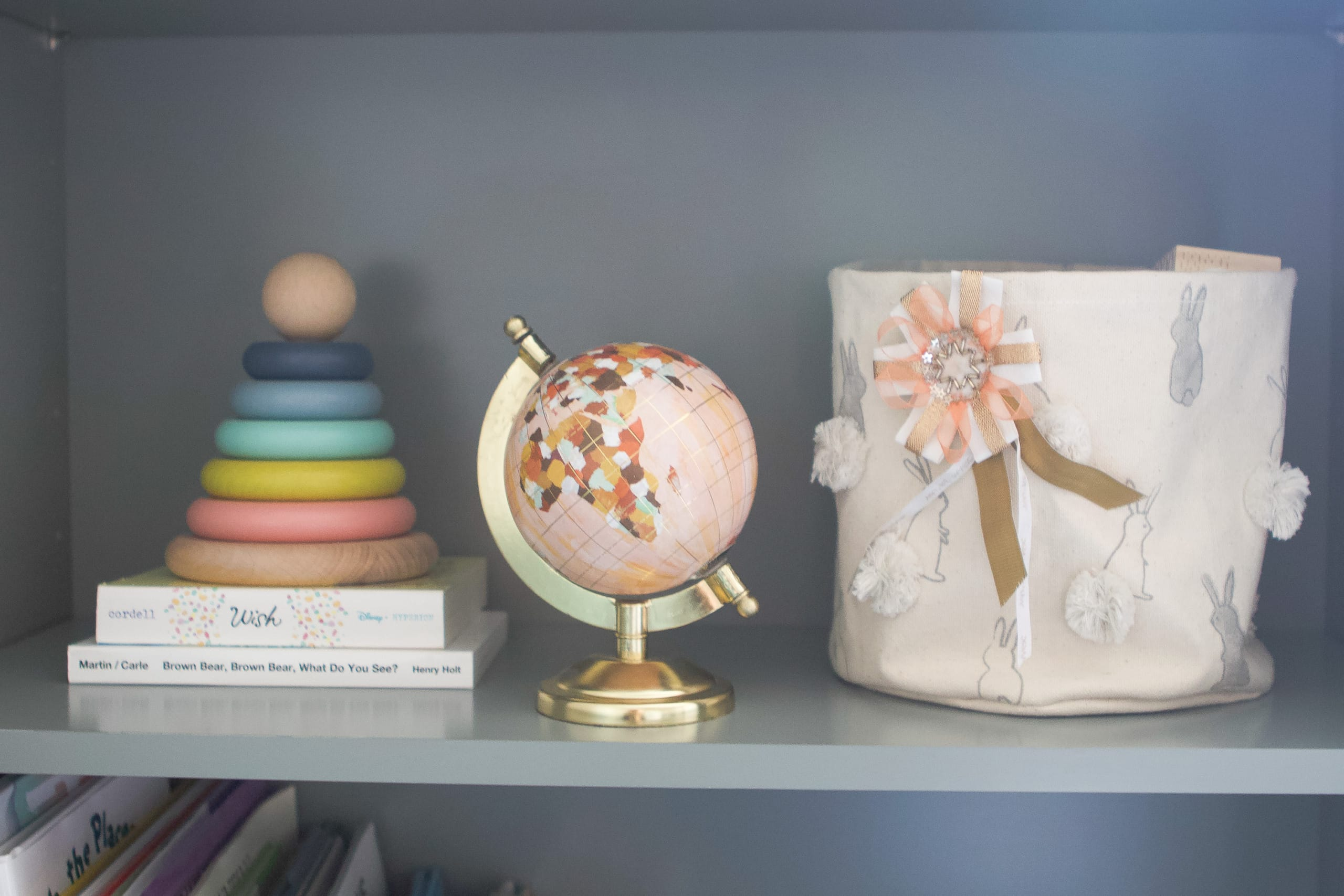Use baskets for toys in a nursery