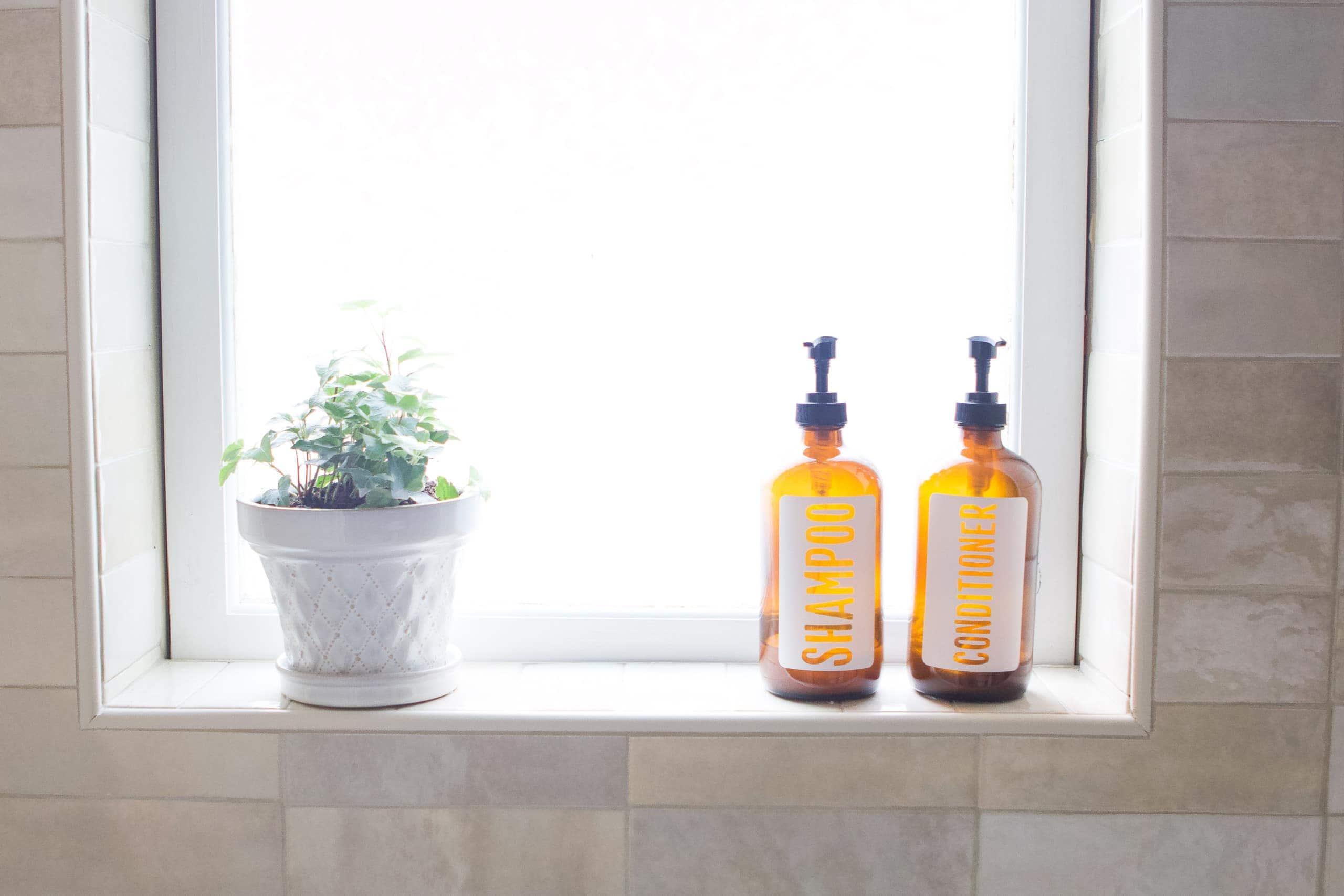 Window sill in a shower