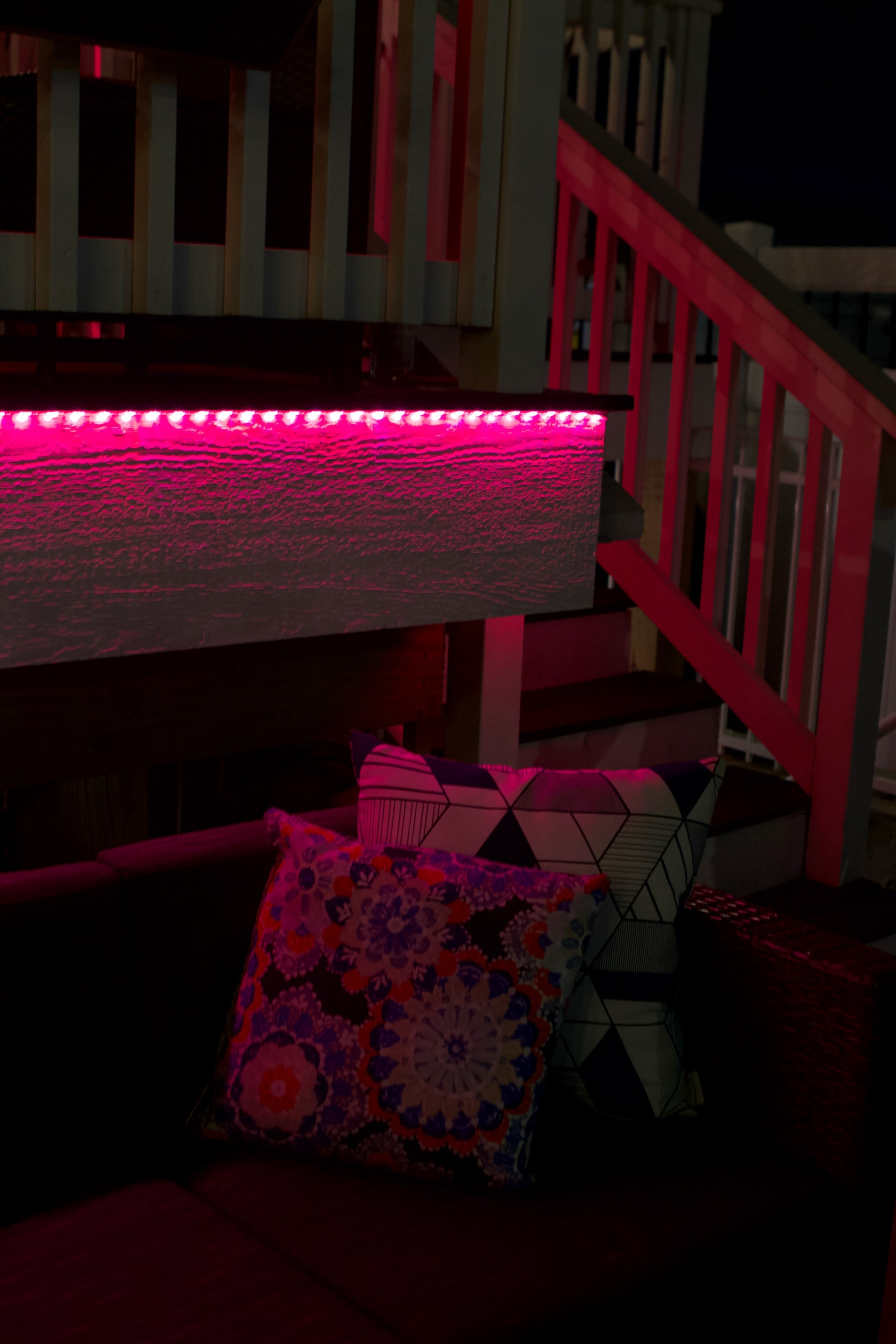 Red LED lights under the deck