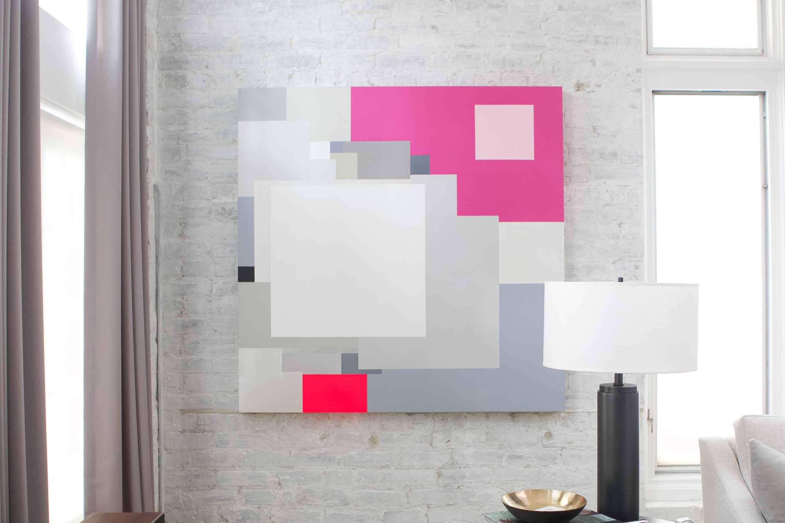 Art in the modern home front living room