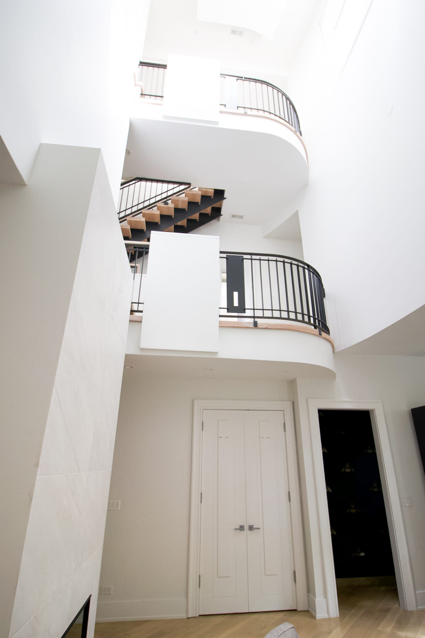 Landing spots in the three story entryway