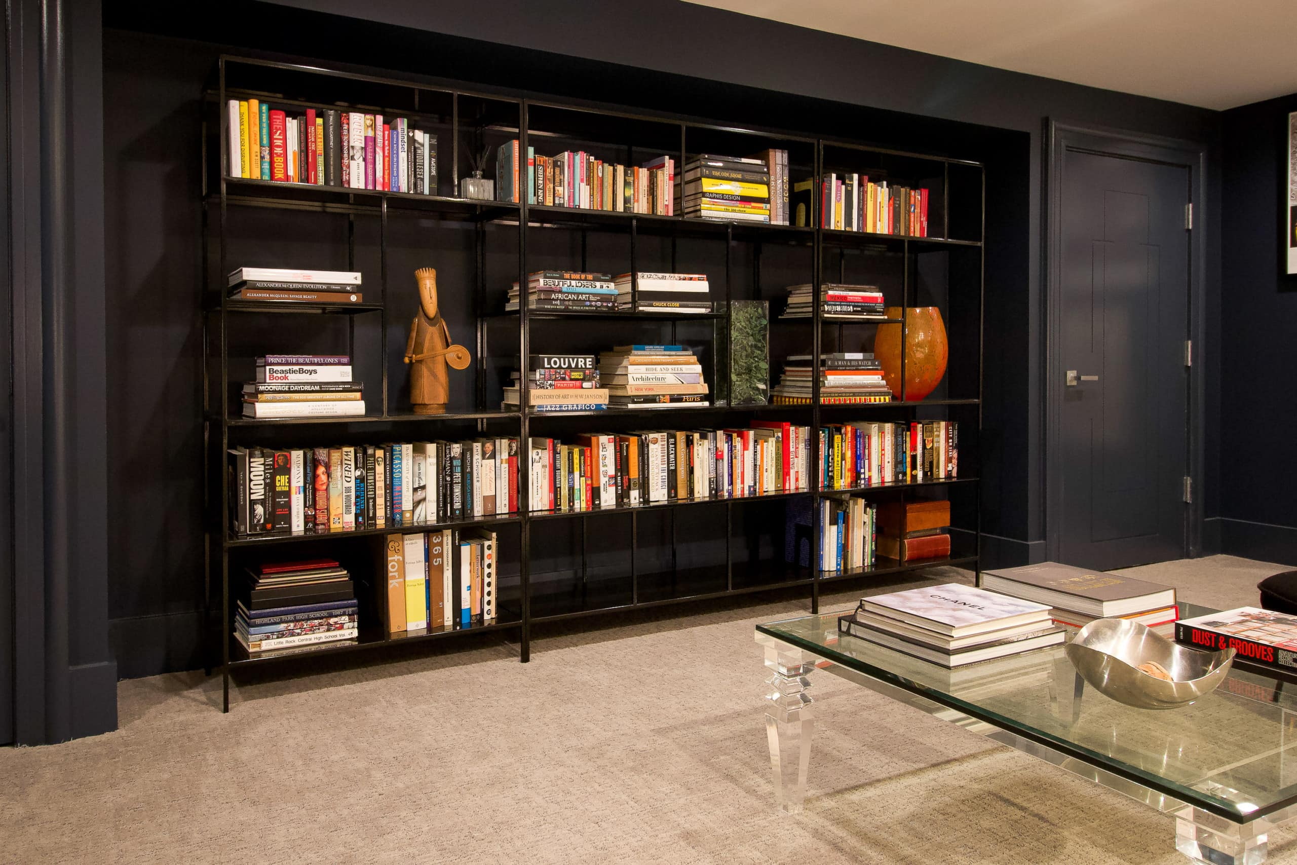 Bookshelves with colorful books