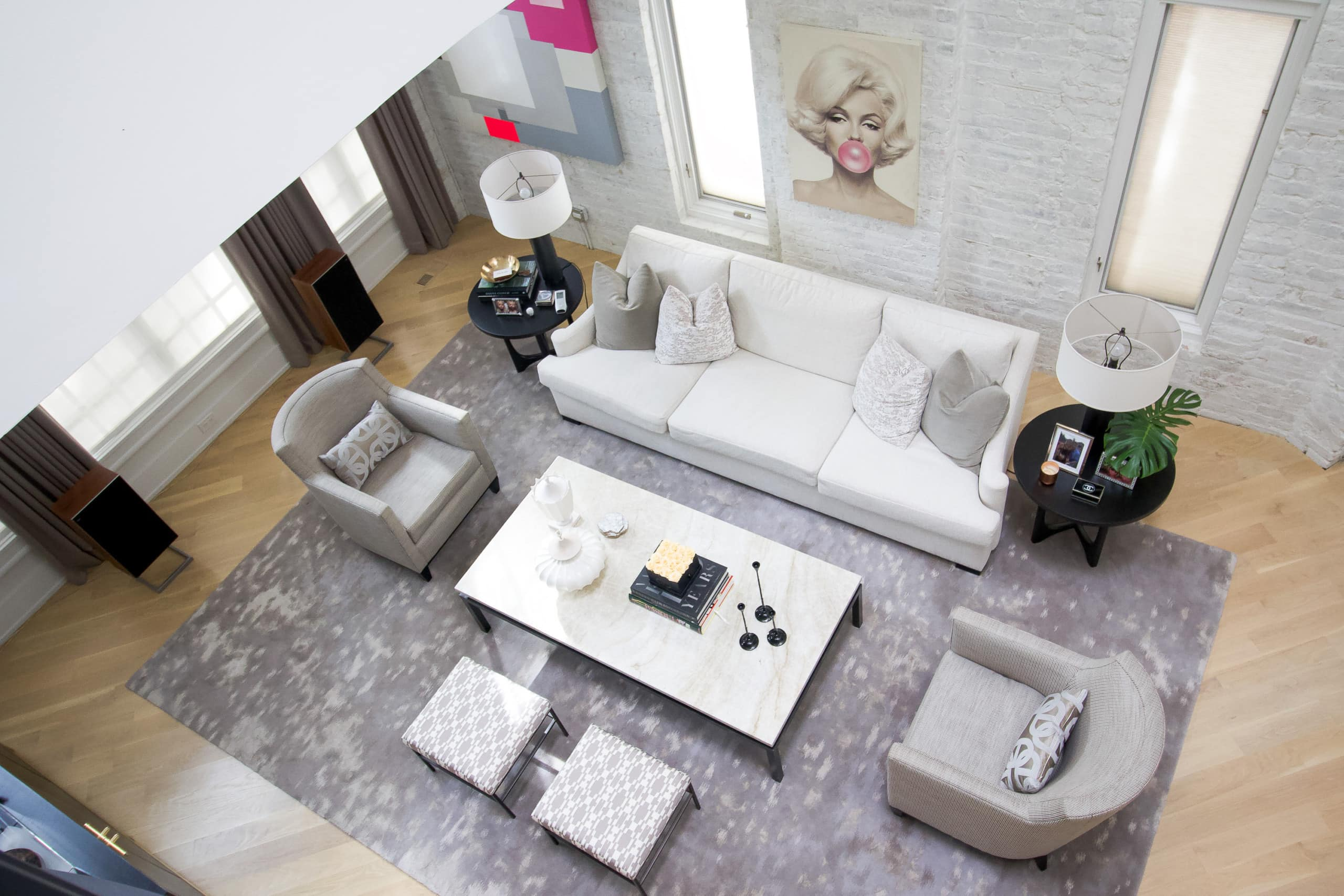 Living room space overhead shot